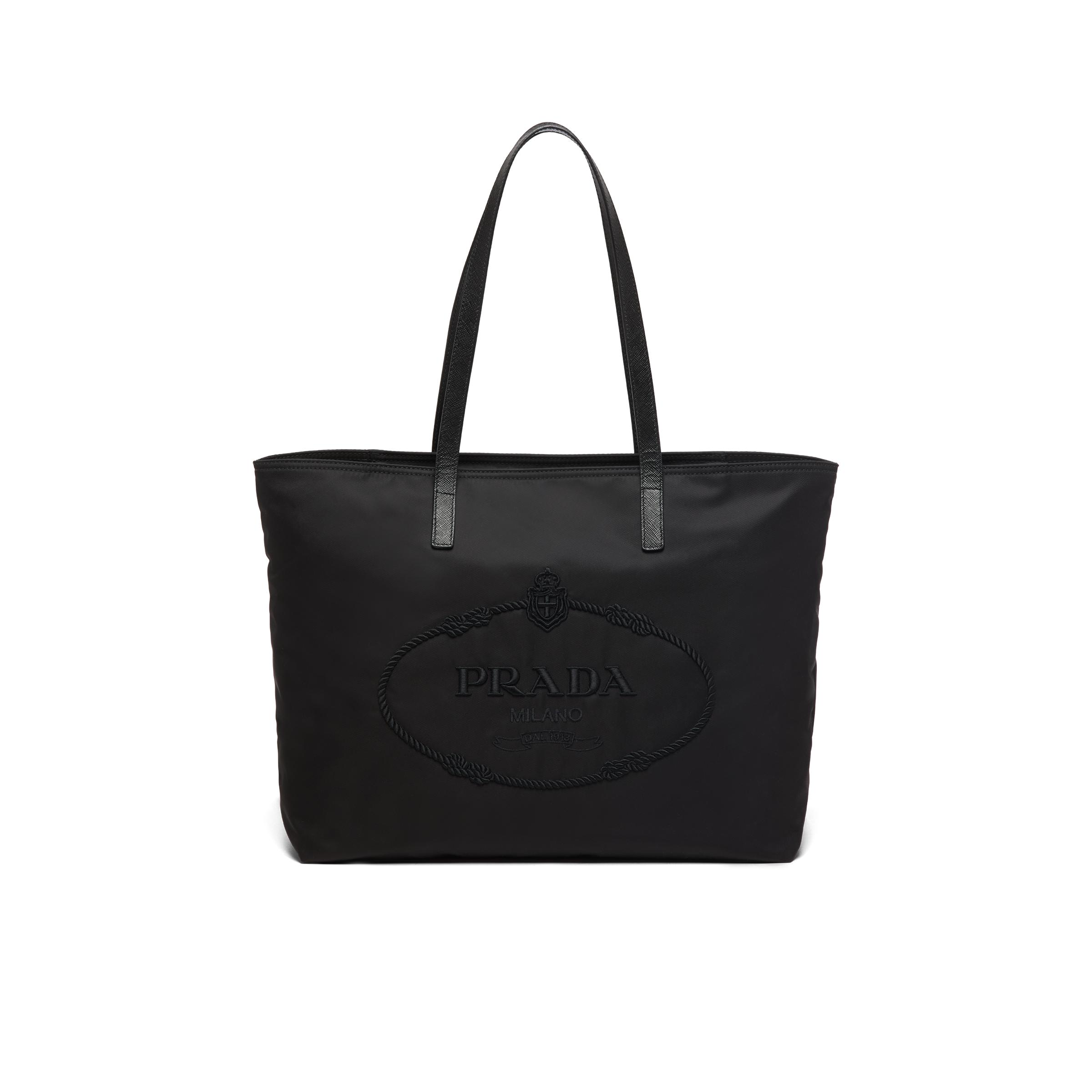 Nylon Tote With Embroidered Logo Women Black