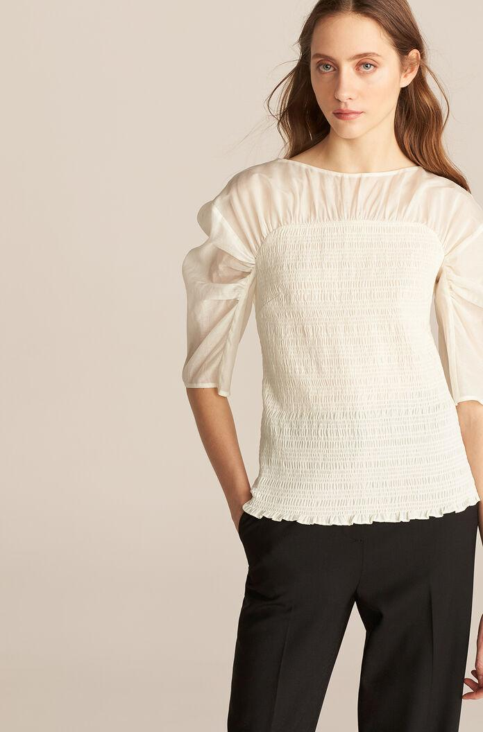 LONG SLEEVE RUCHED ORGANZA BLOUSE