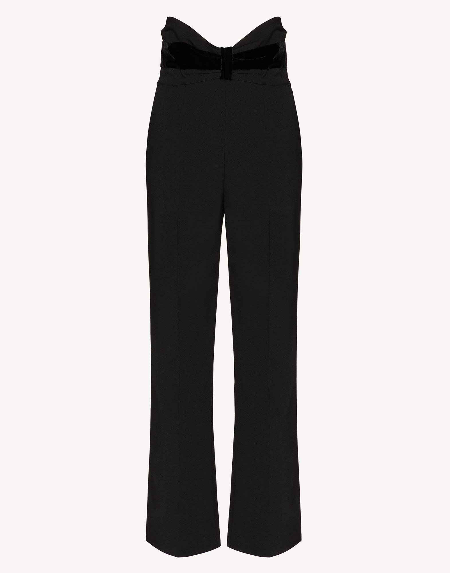 TUXEDO BOW DETAIL WOOL STRETCH REPS PANTS 4