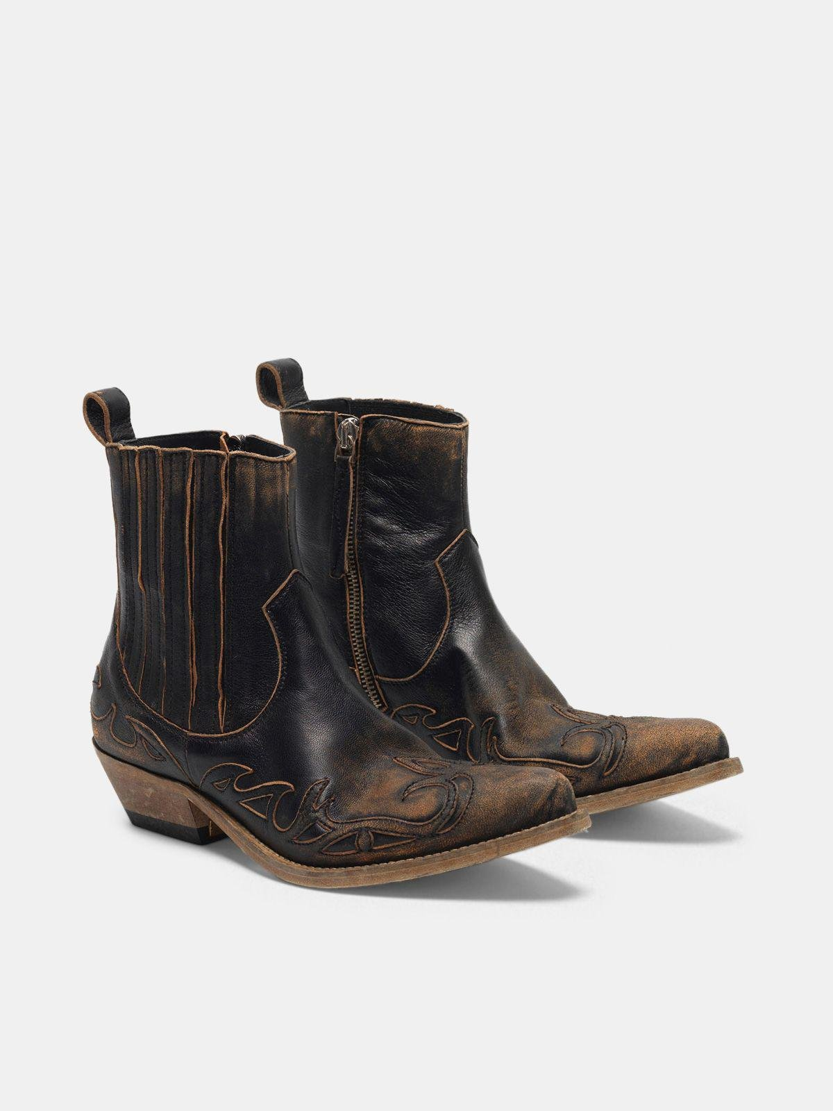 Black aged-leather Santiago ankle boots 2