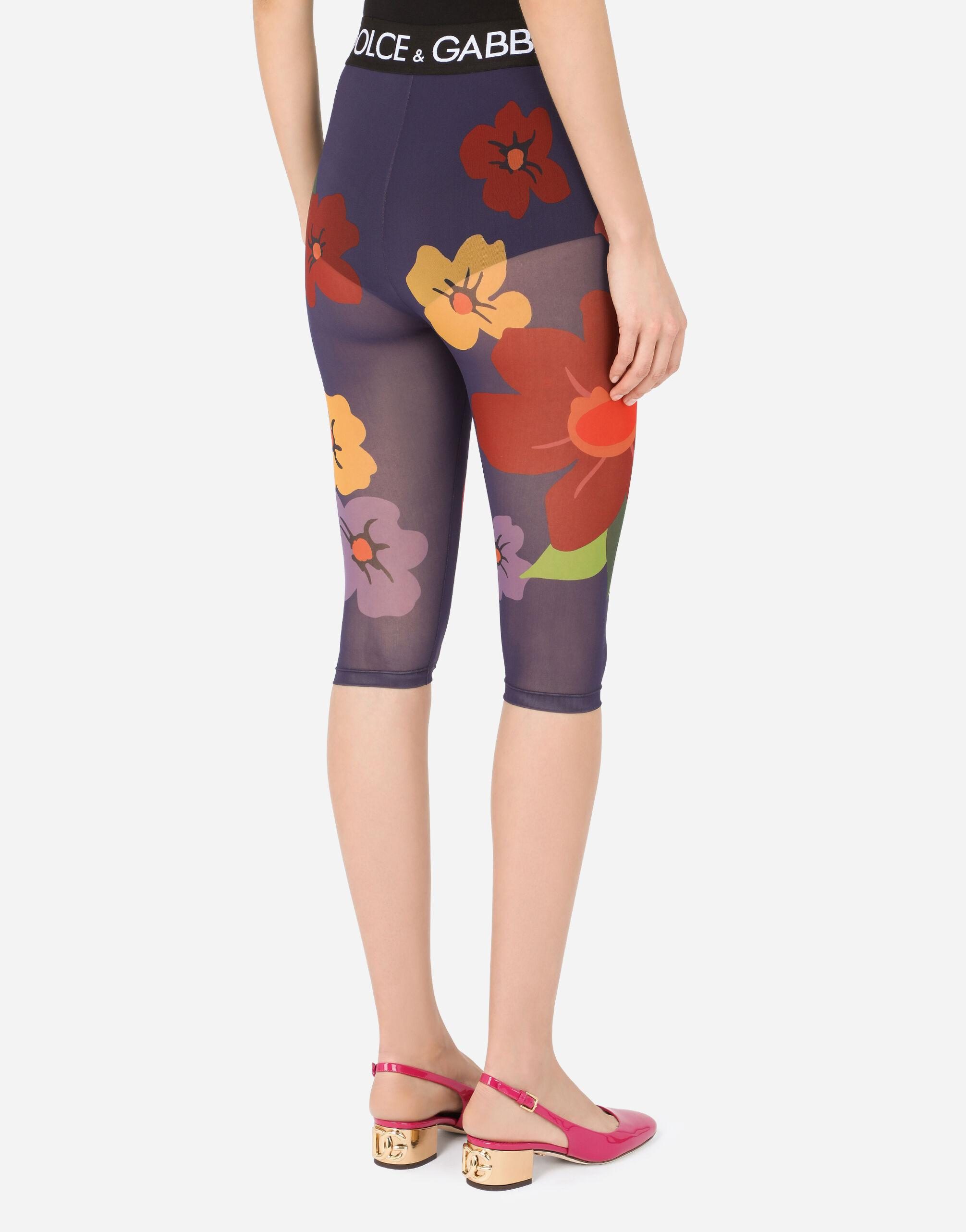 Floral-print marquisette cycling shorts with branded elastic 3