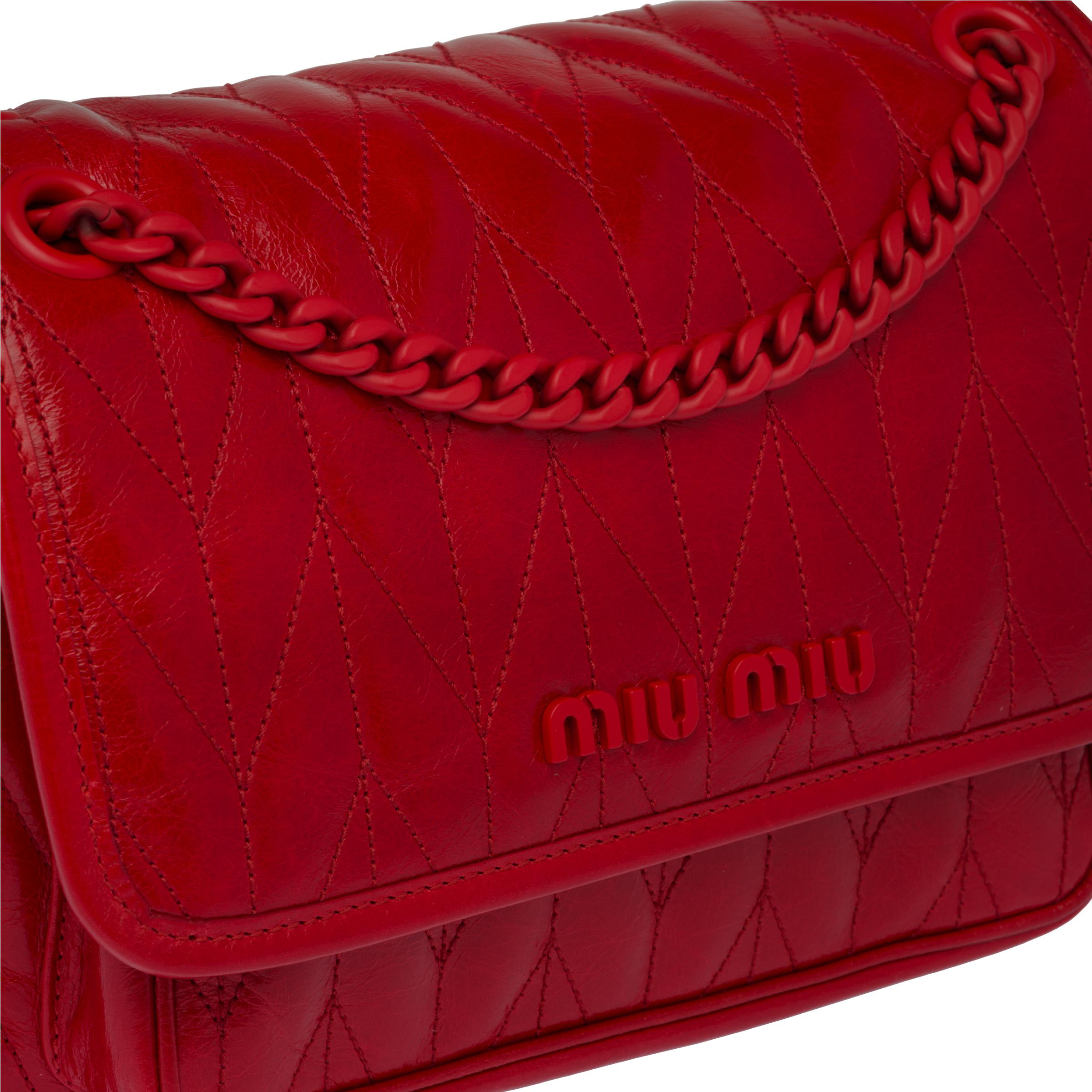 Quilted Shiny Leather Shoulder Bag Women Red 5