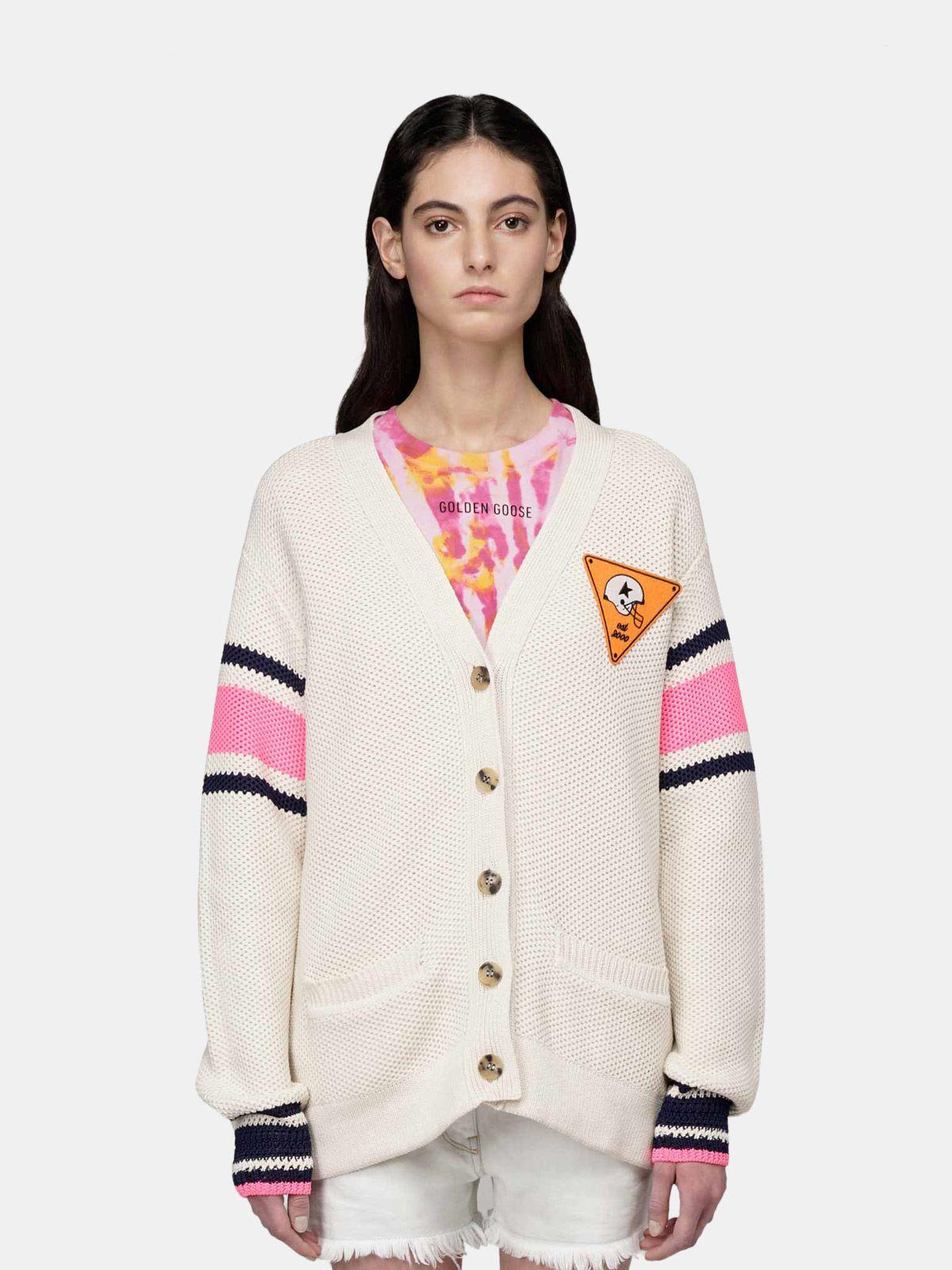 Katy cardigan in cotton piquet with embroidery on the back