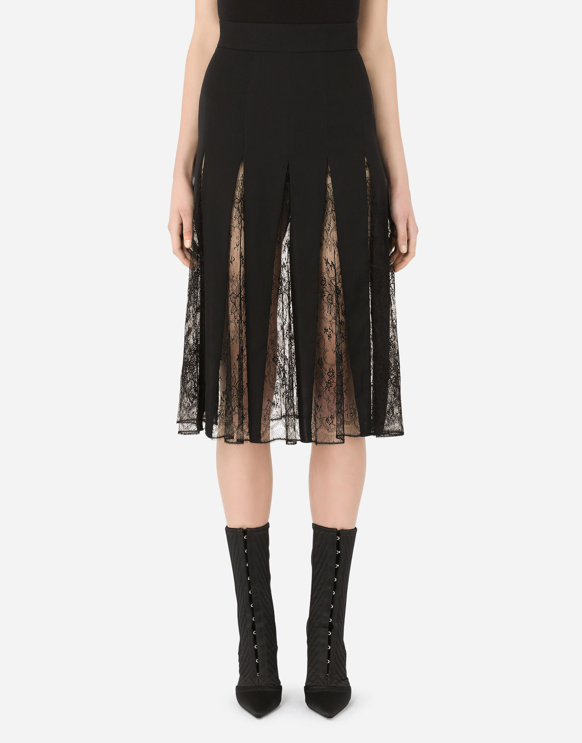 Charmeuse midi skirt with lace inserts