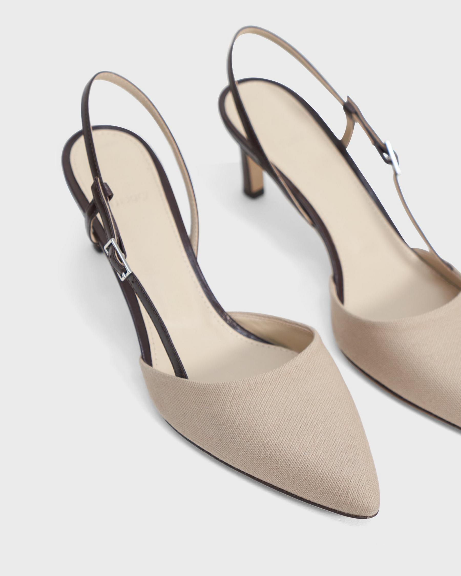 Buckled Mid-Heel Sandal in Cotton Canvas