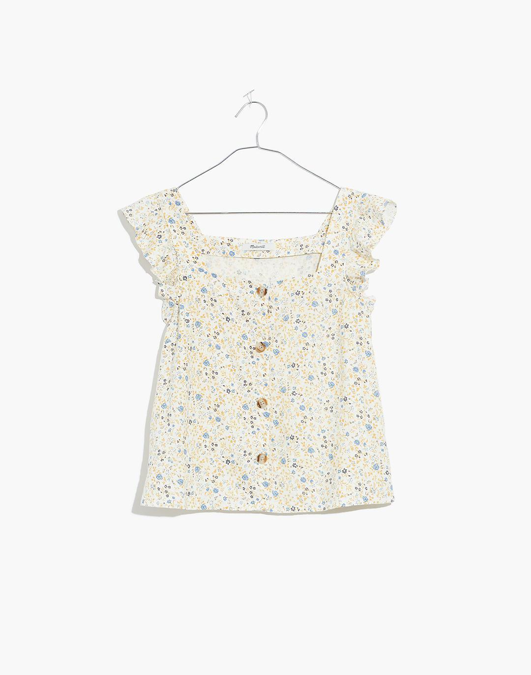 Linen-Blend Ruffle-Strap Button-Up Tank Top in Folkmagic Floral 4