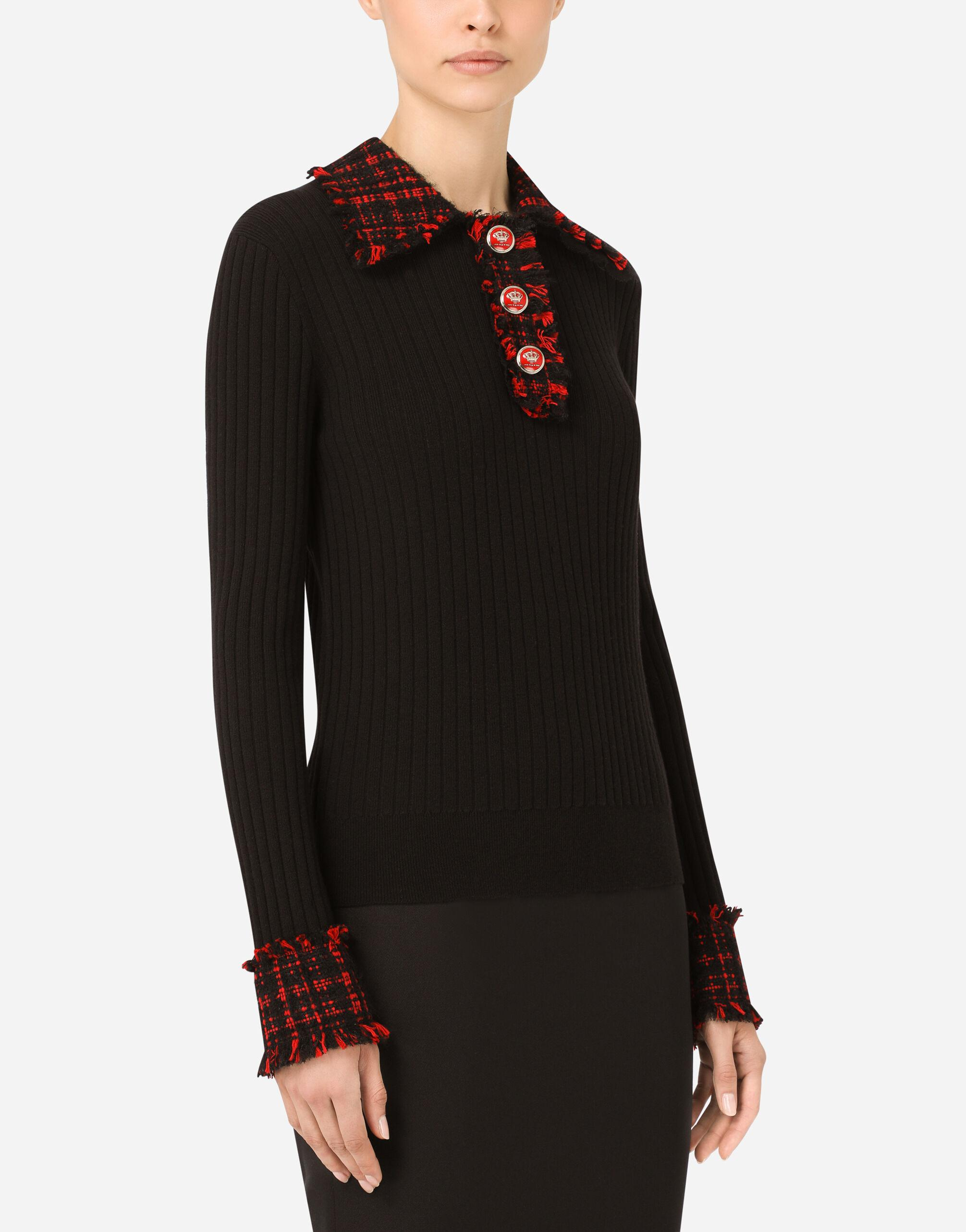 Wool polo shirt with tweed details 2