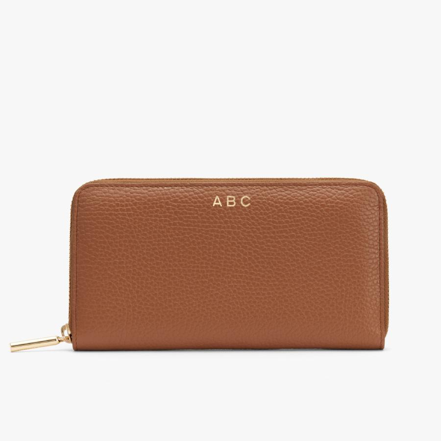 Women's Classic Zip Around Wallet in Caramel/Blush Pink   Pebbled Leather by Cuyana 3
