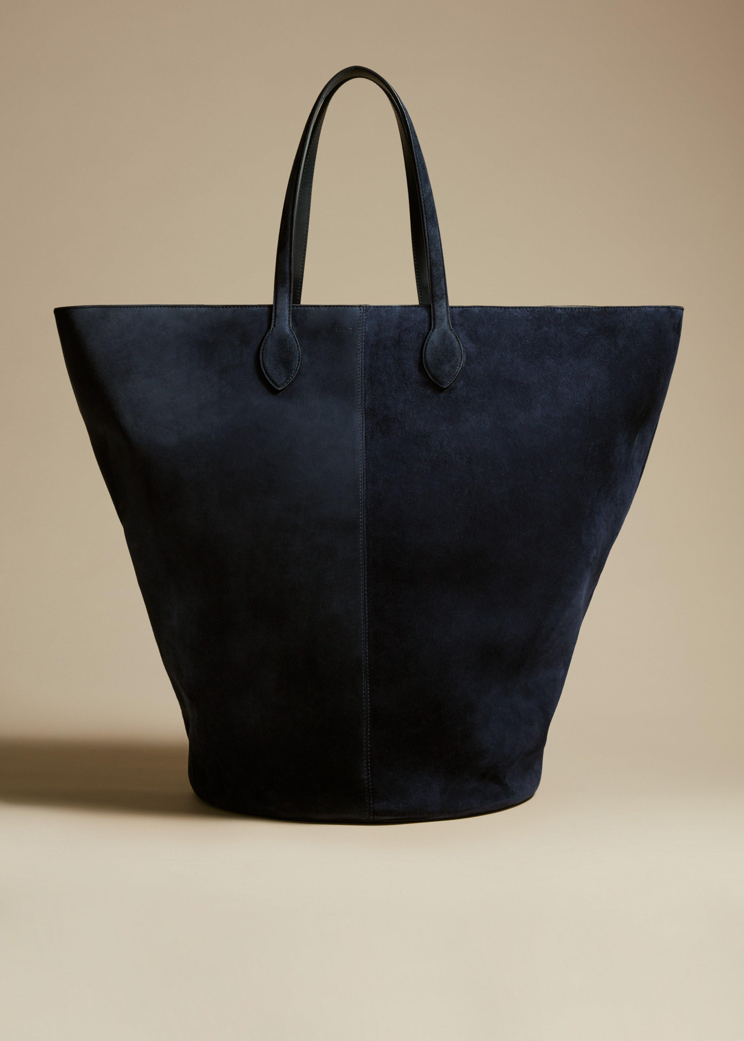 The Large Osa Tote in Navy Suede
