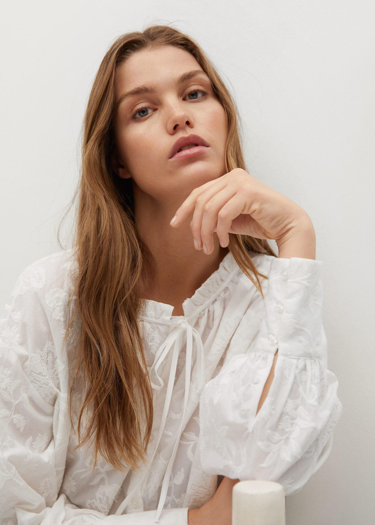 Embroidered cotton blouse 5