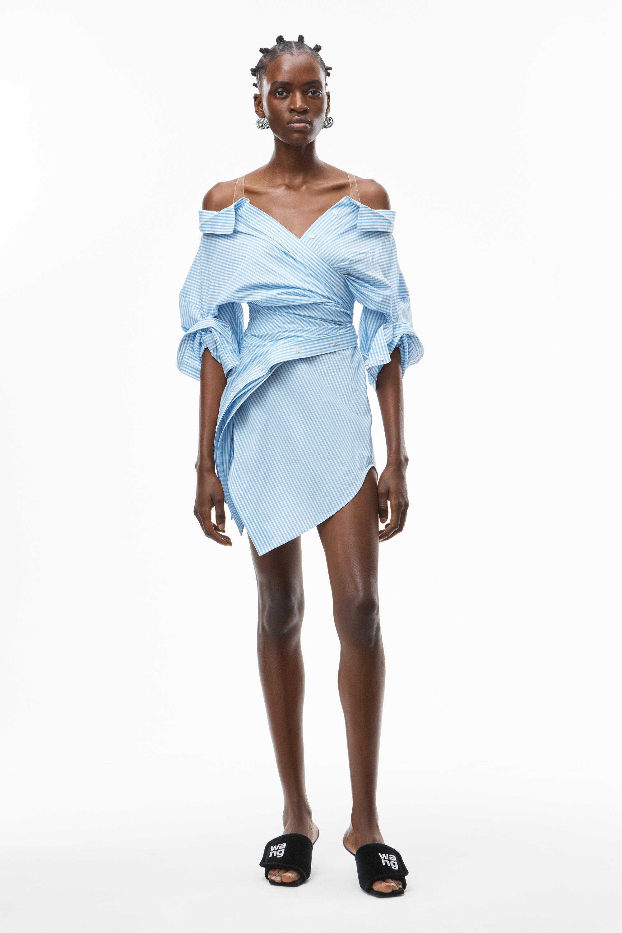 deconstructed shirtdress in cotton
