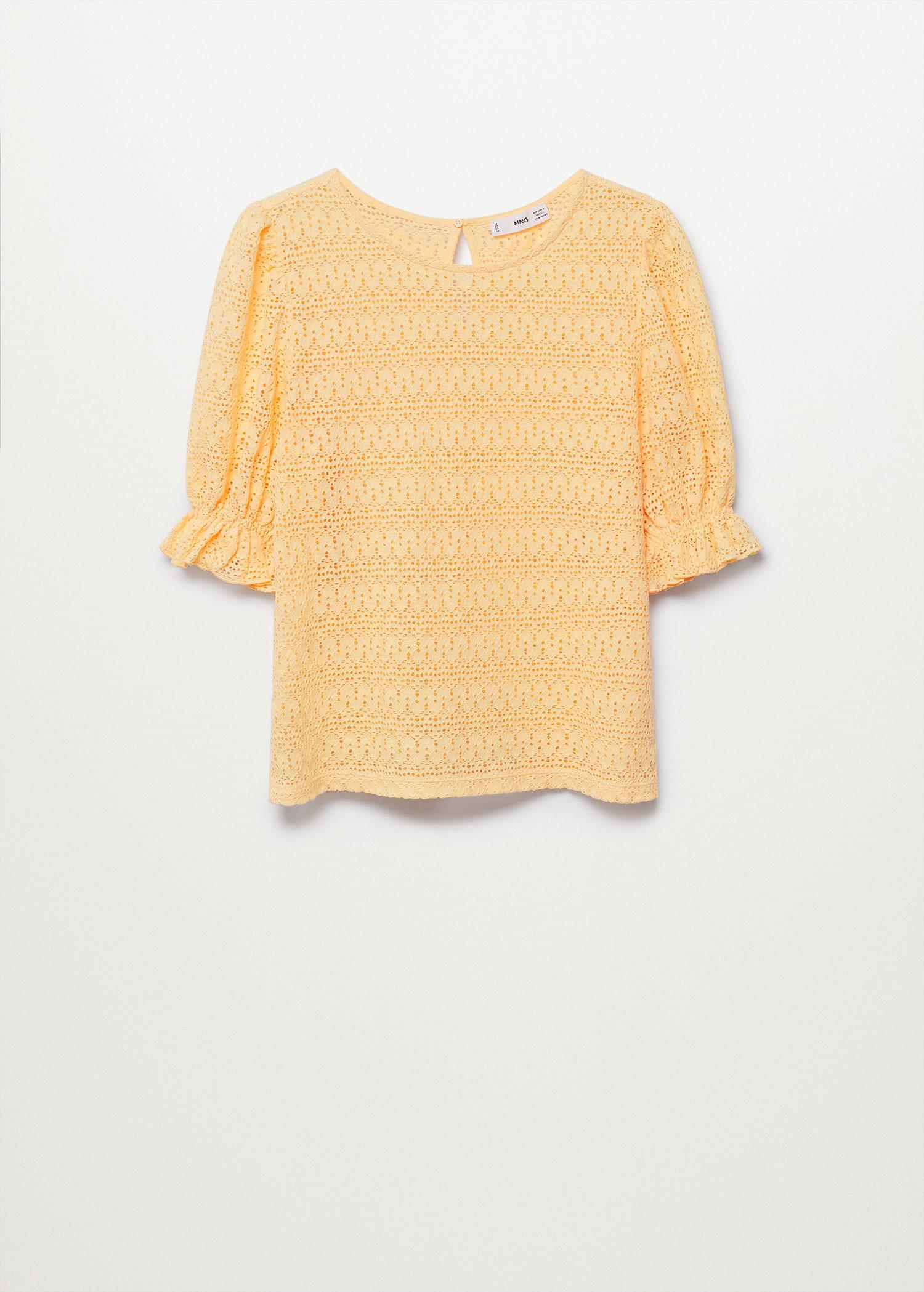 Cotton t-shirt with openwork detail 5