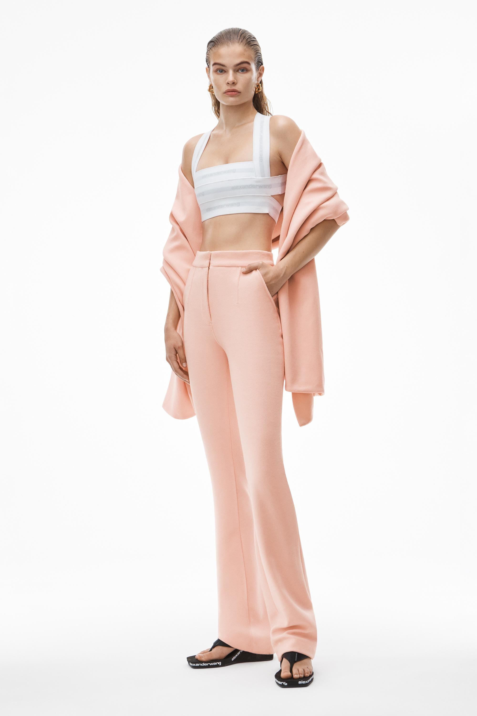 stacked pant in velour tailoring