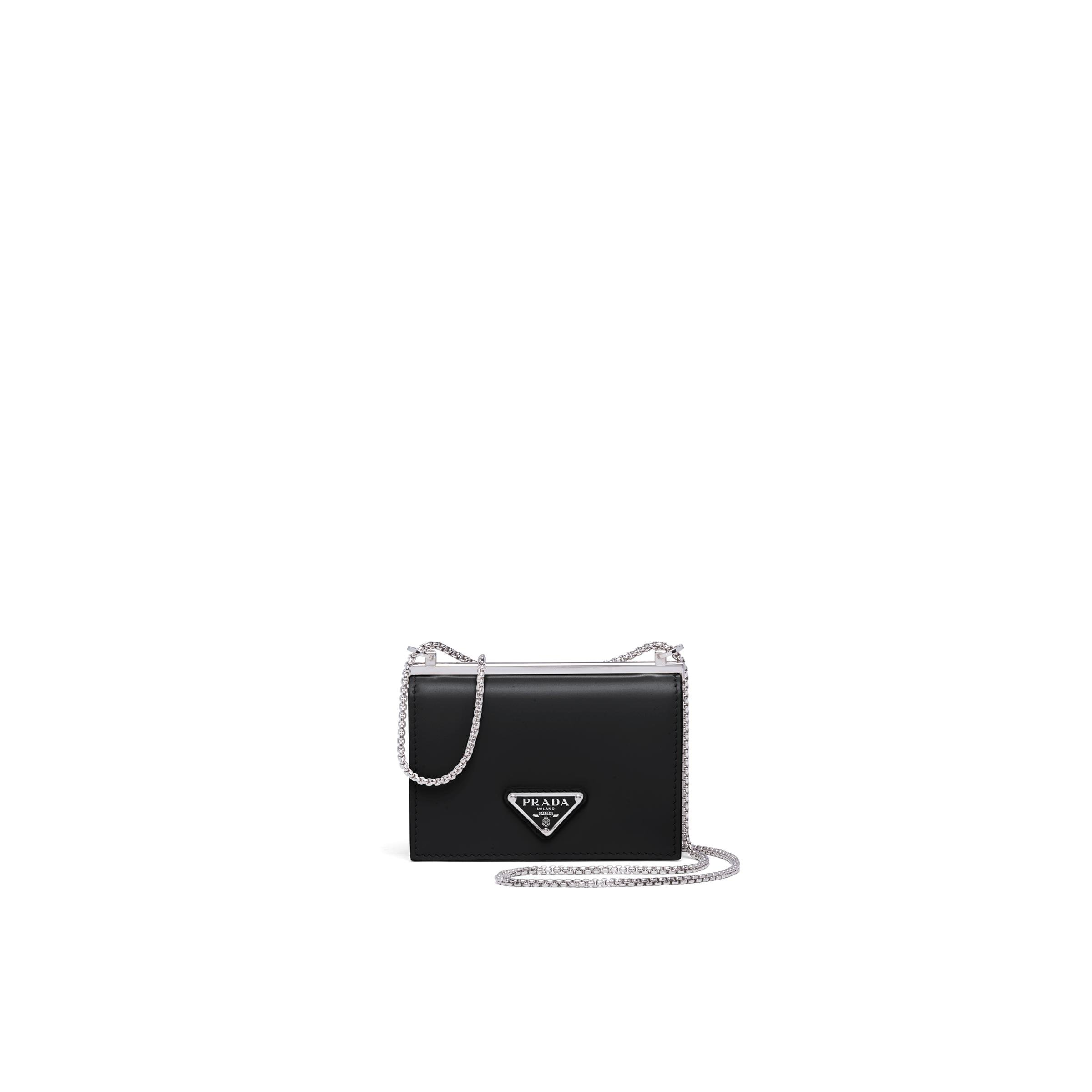 Brushed Leather Chain Card Holder Women Black
