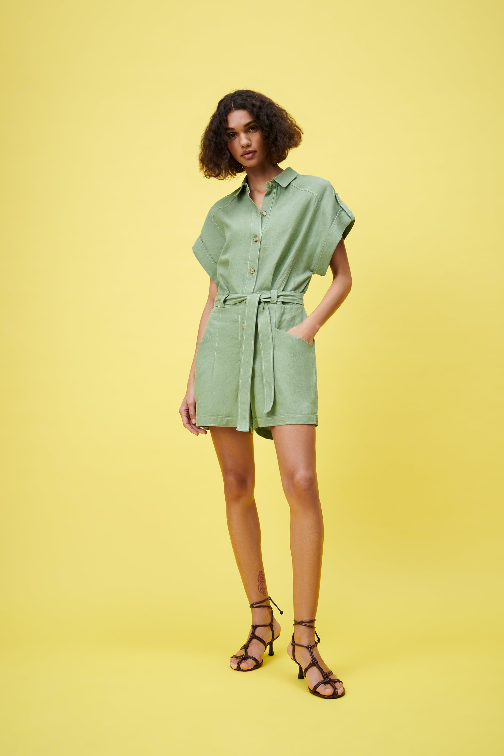 TOPSTITCHED JUMPSUIT IN GREEN