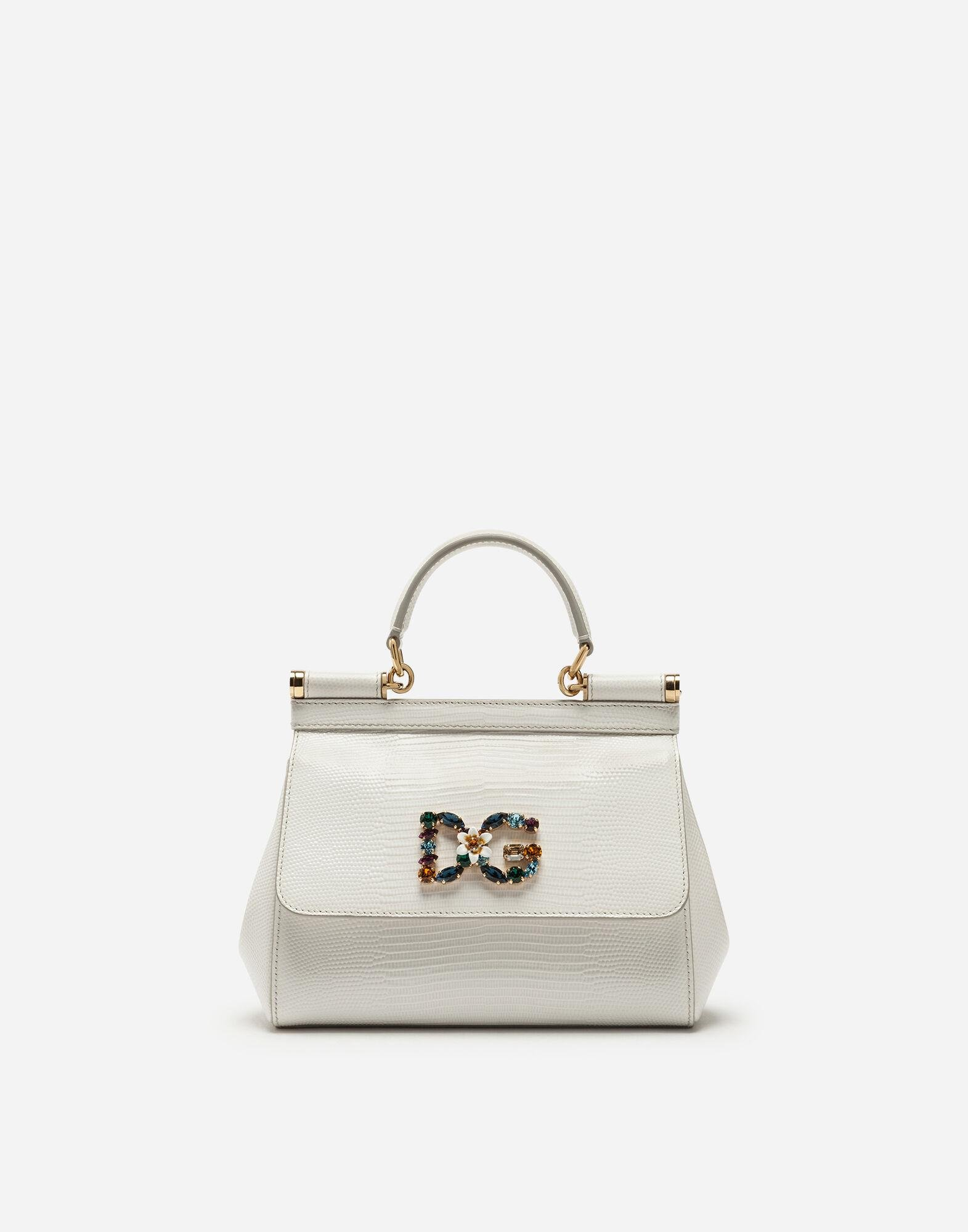 Small calfskin Sicily bag with iguana-print and DG crystal logo patch
