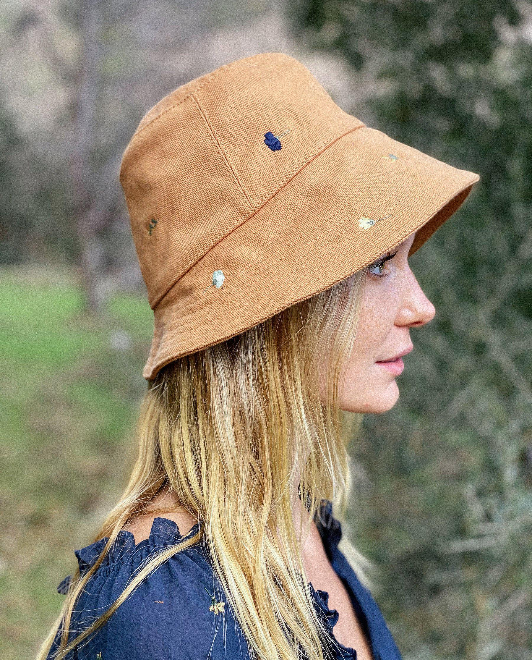 The Bucket Hat. -- Camel with Tossed Floral Embroidery 3