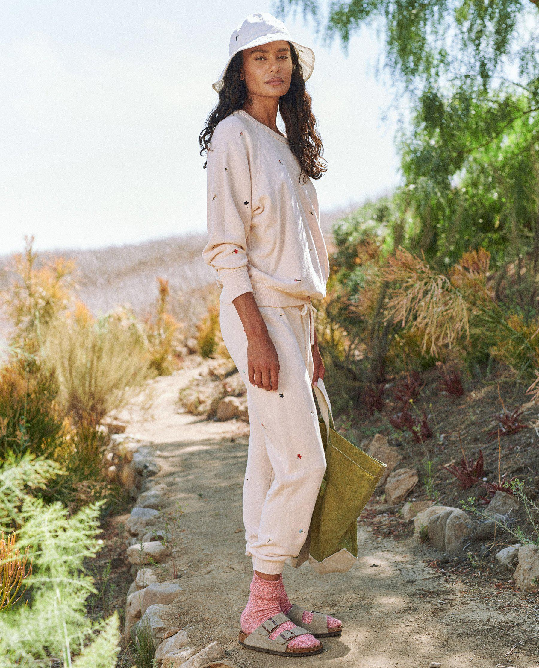 The Cropped Sweatpant. Embroidered -- Whisper Pink with Tossed Floral Embroidery 2