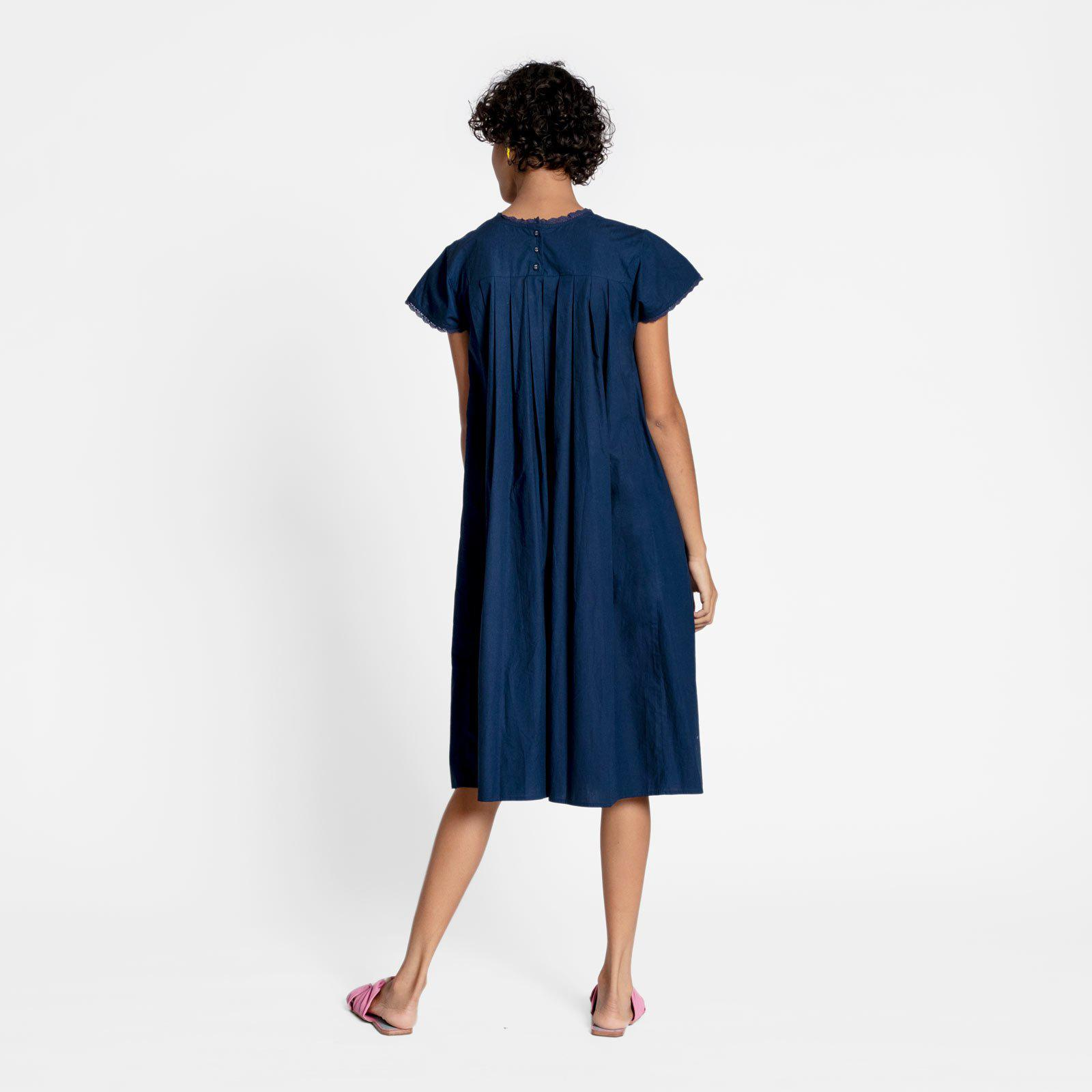 Floral Garland Embroidered Dress Navy 2