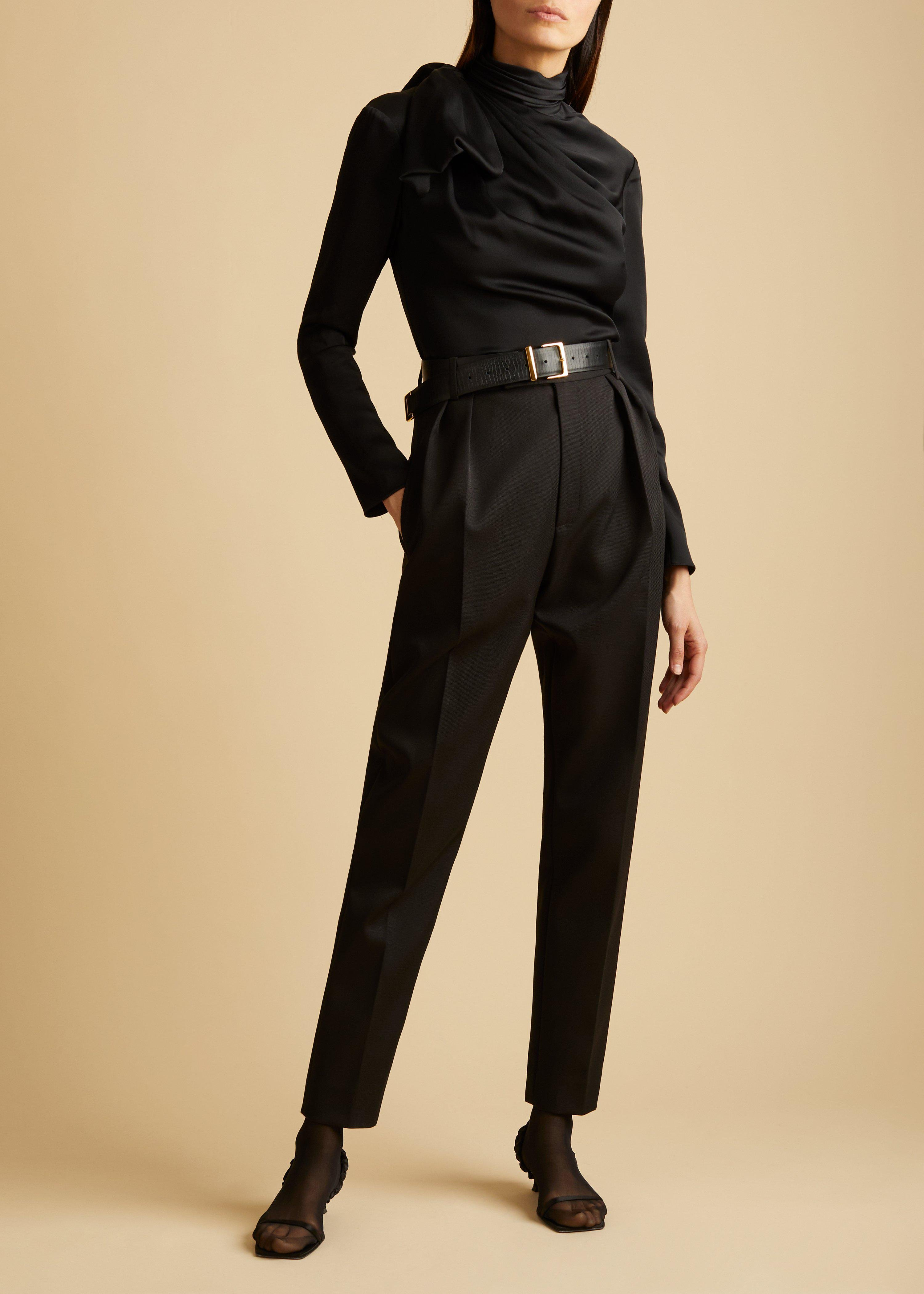 The Magdeline Pant in Black Cotton