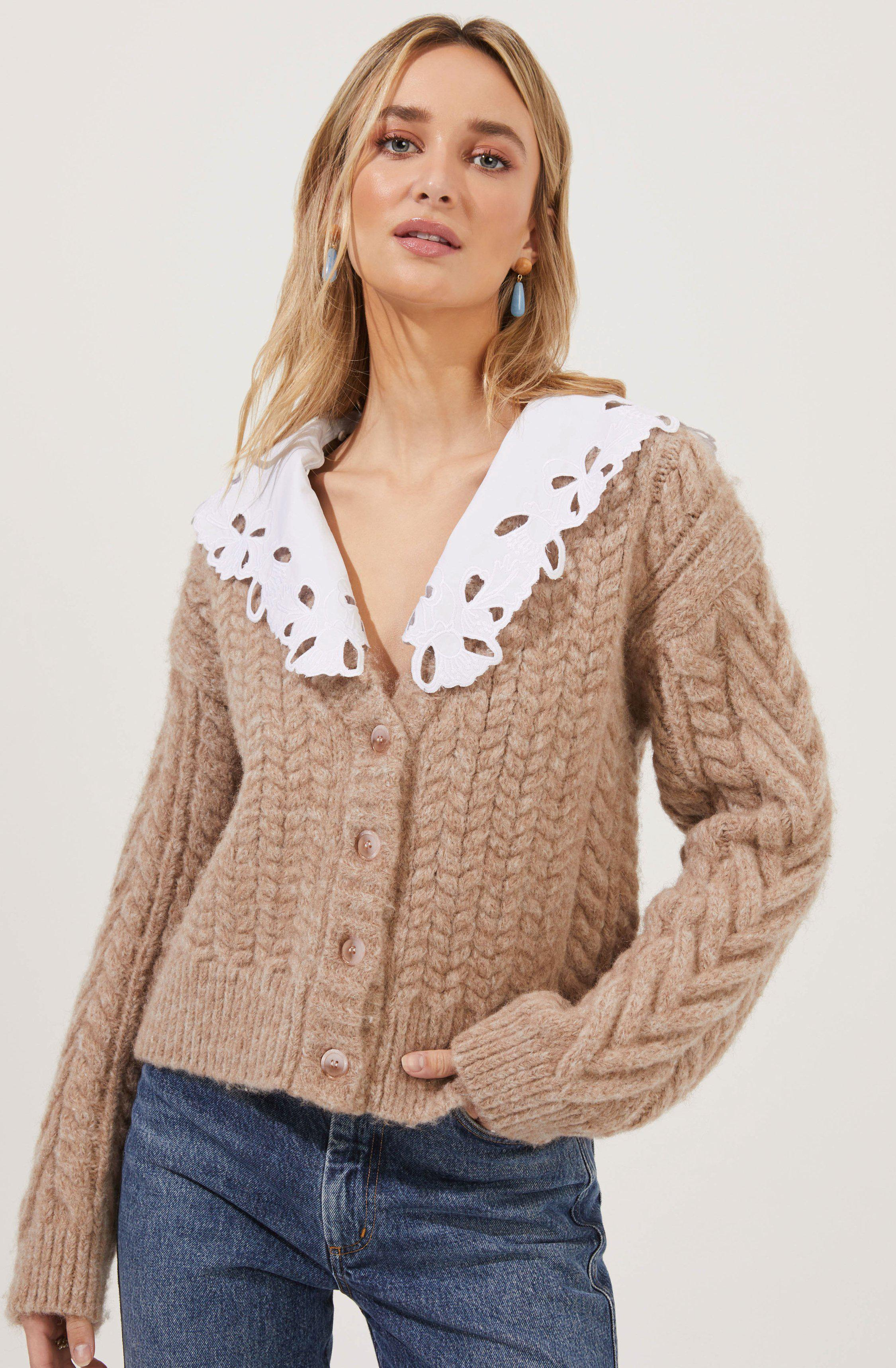 Pemberley Oversized Collar Cable Knit Cardigan
