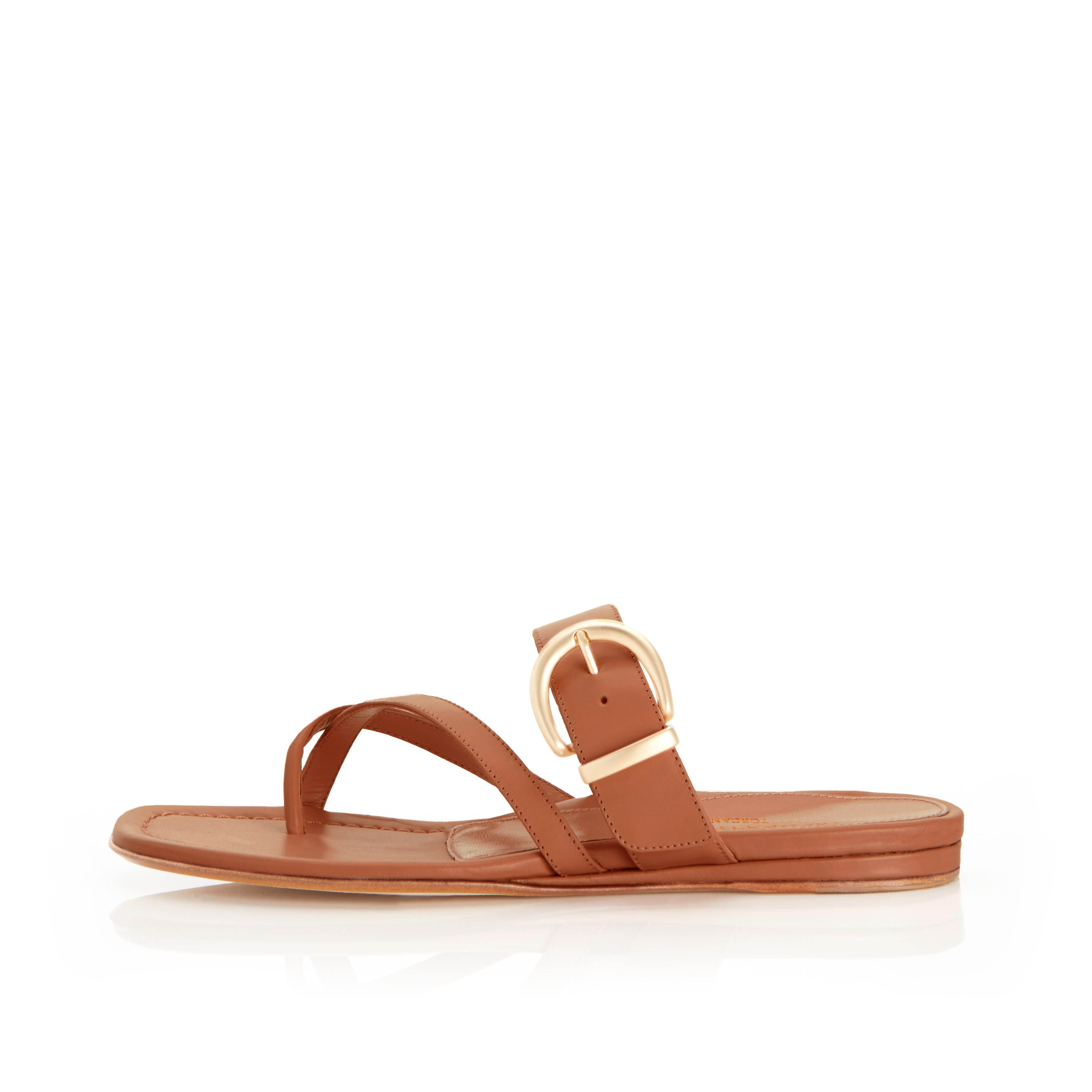 Hayley | Leather Thong Sandal With Metal Buckle Detail