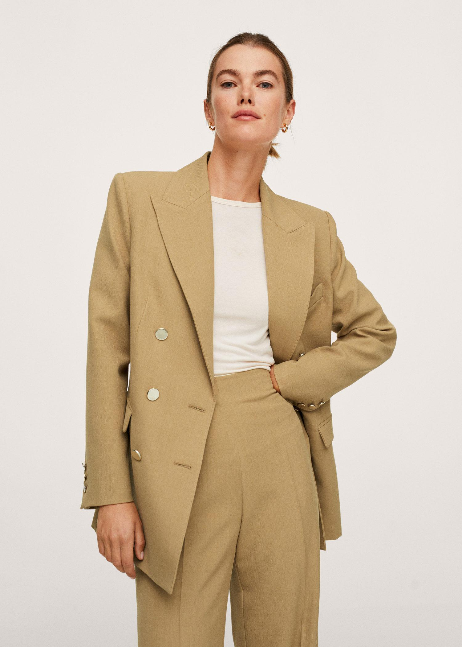 Double-breasted suit blazer