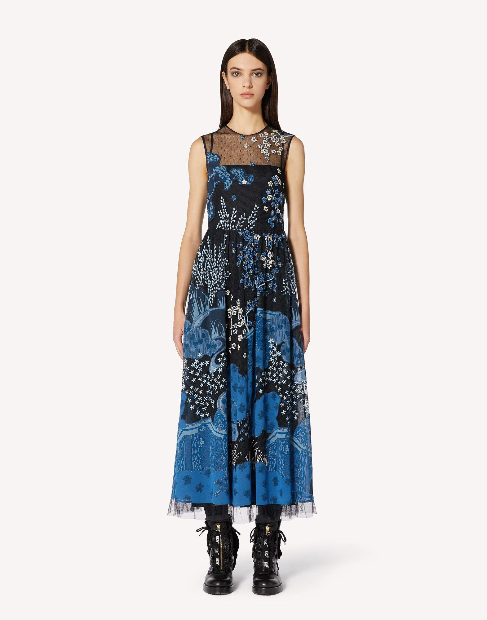 ASIAN TOILE DE JOUY EMBROIDERED POINT D'ESPRIT TULLE DRESS