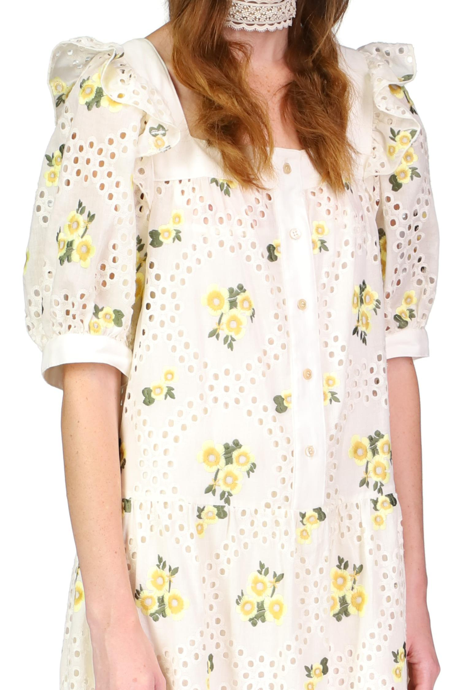 Pansy Eyelet Embroidered Puff Sleeve Dress 2
