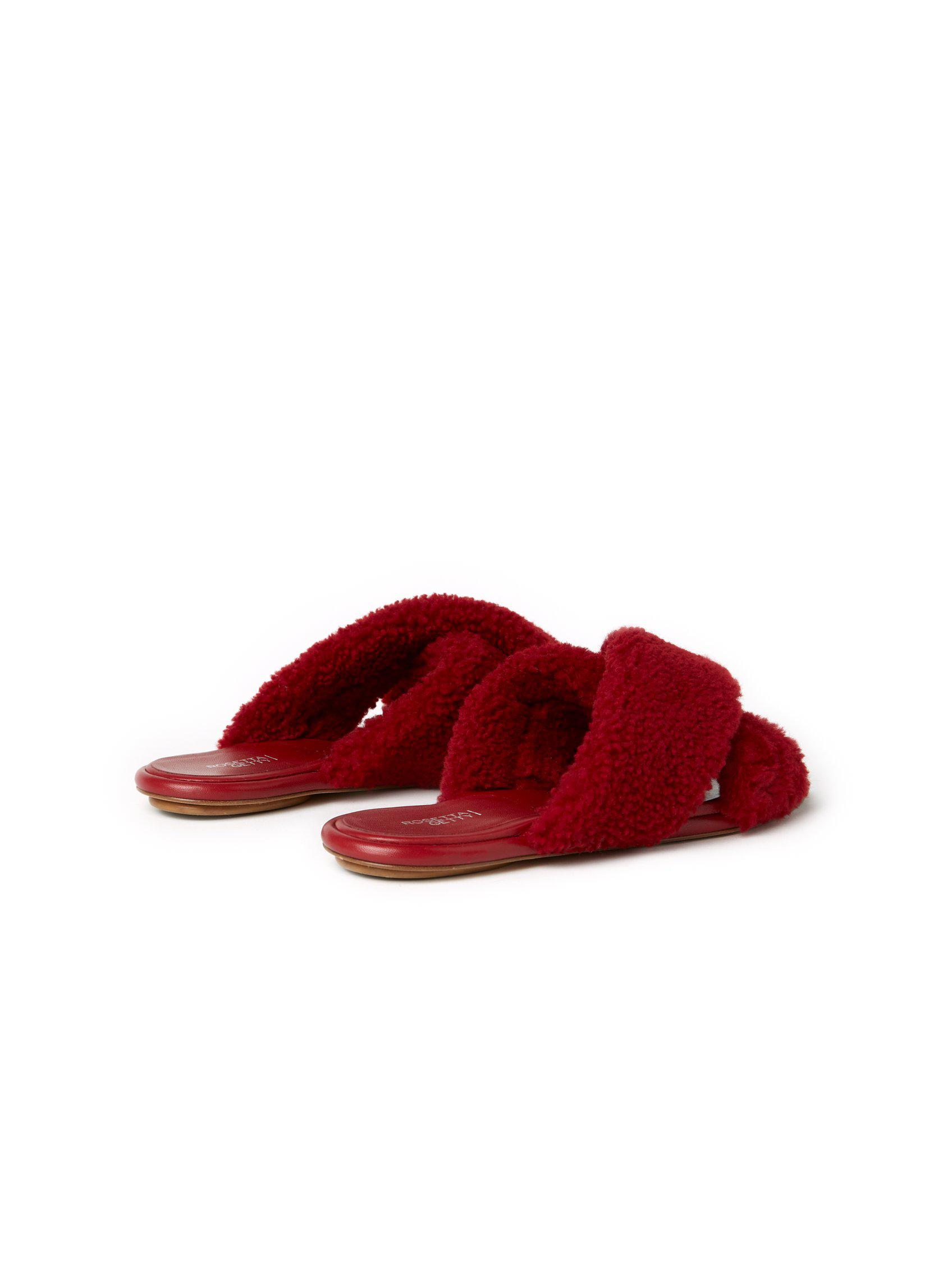 Flat Crossover Sandals Rouge 2