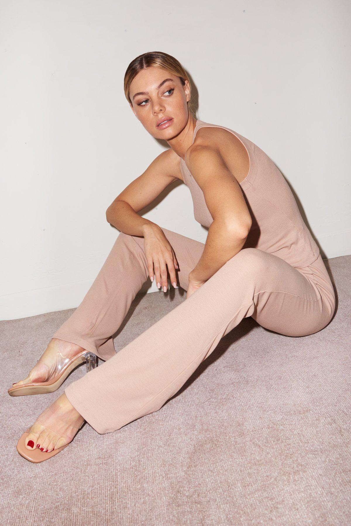 Ribbed Charlotte Pant - Nude