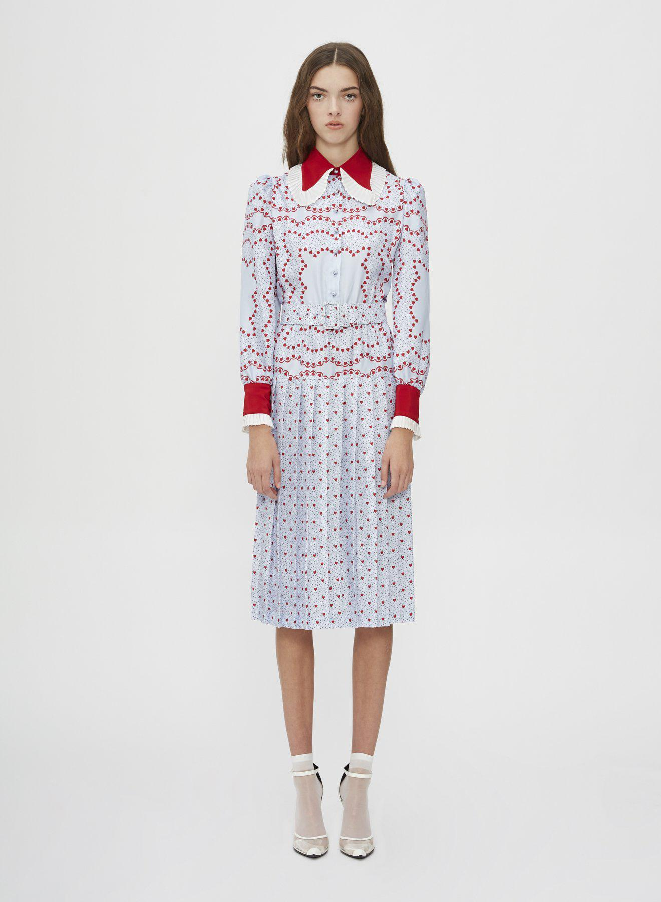BELTED SILK PLEATED COLLAR DRESS