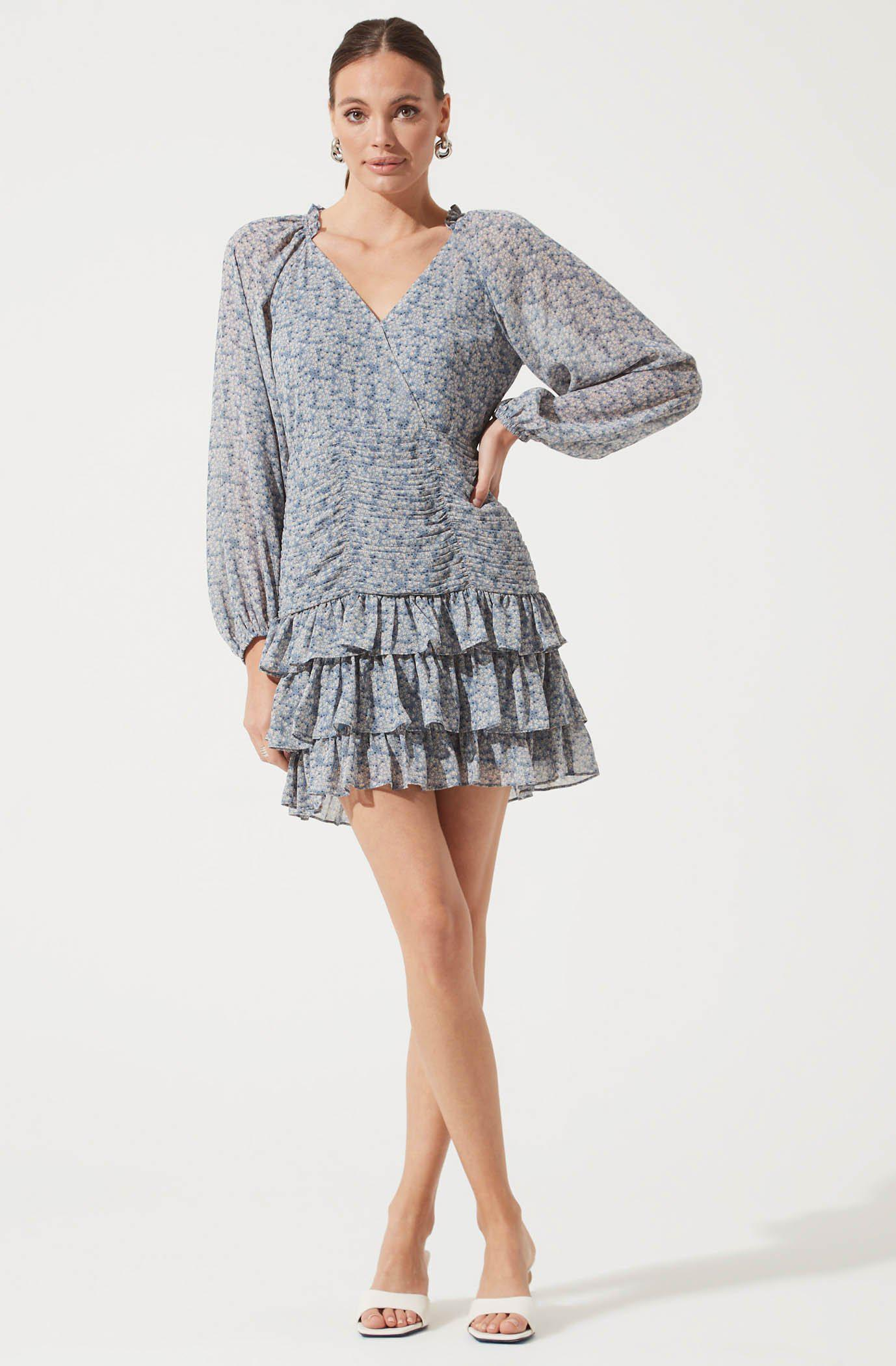 Long Sleeve Tiered Ruffle Floral Dress