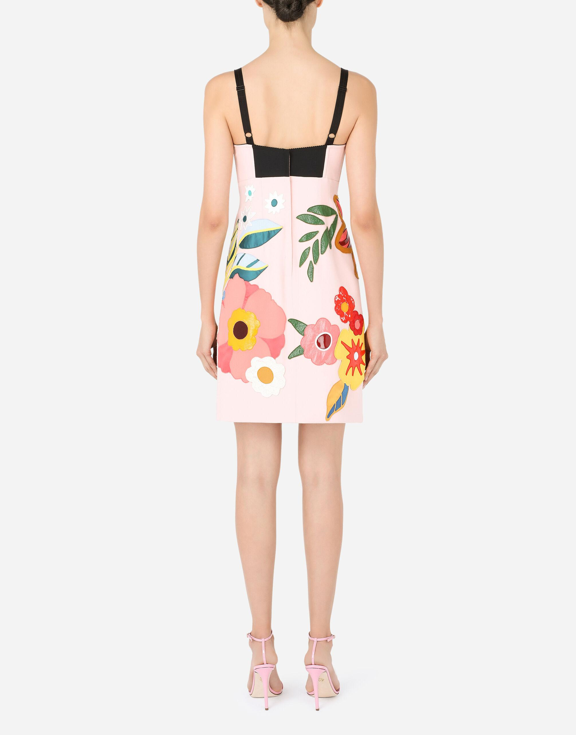 Short cady slip dress with floral patches 1