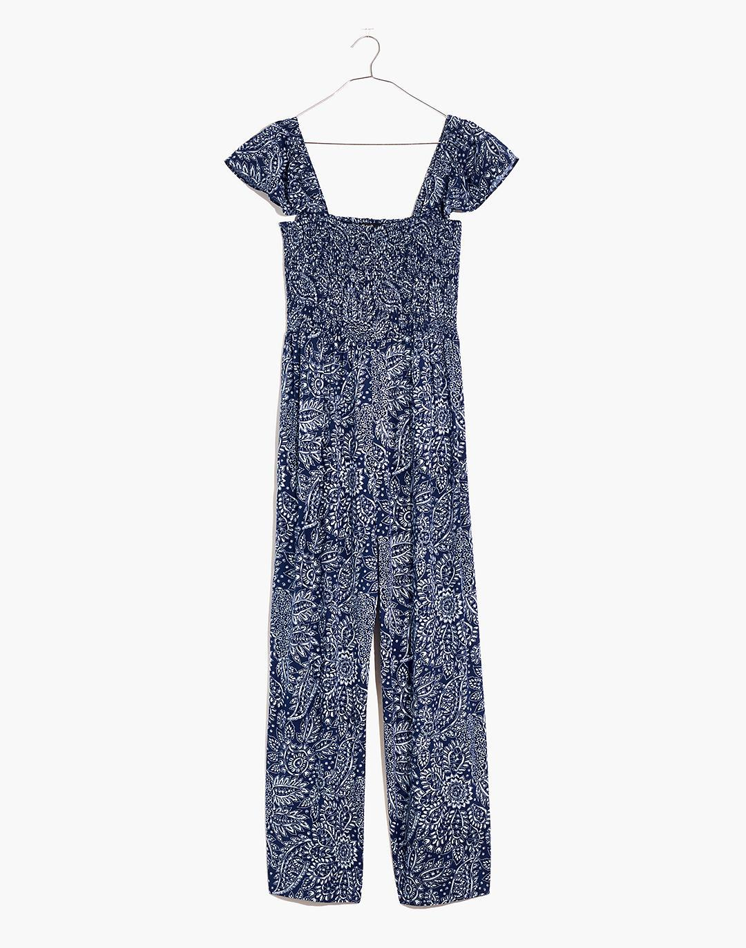 Petite Lucie Smocked Wide-Leg Jumpsuit in Paisley Garden