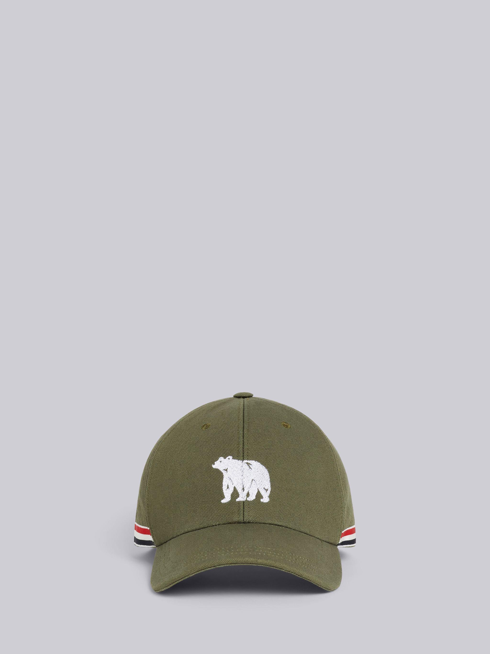 Dark Green Washed Cotton Canvas Bear Icon Embroidery Classic 6-panel Baseball Cap