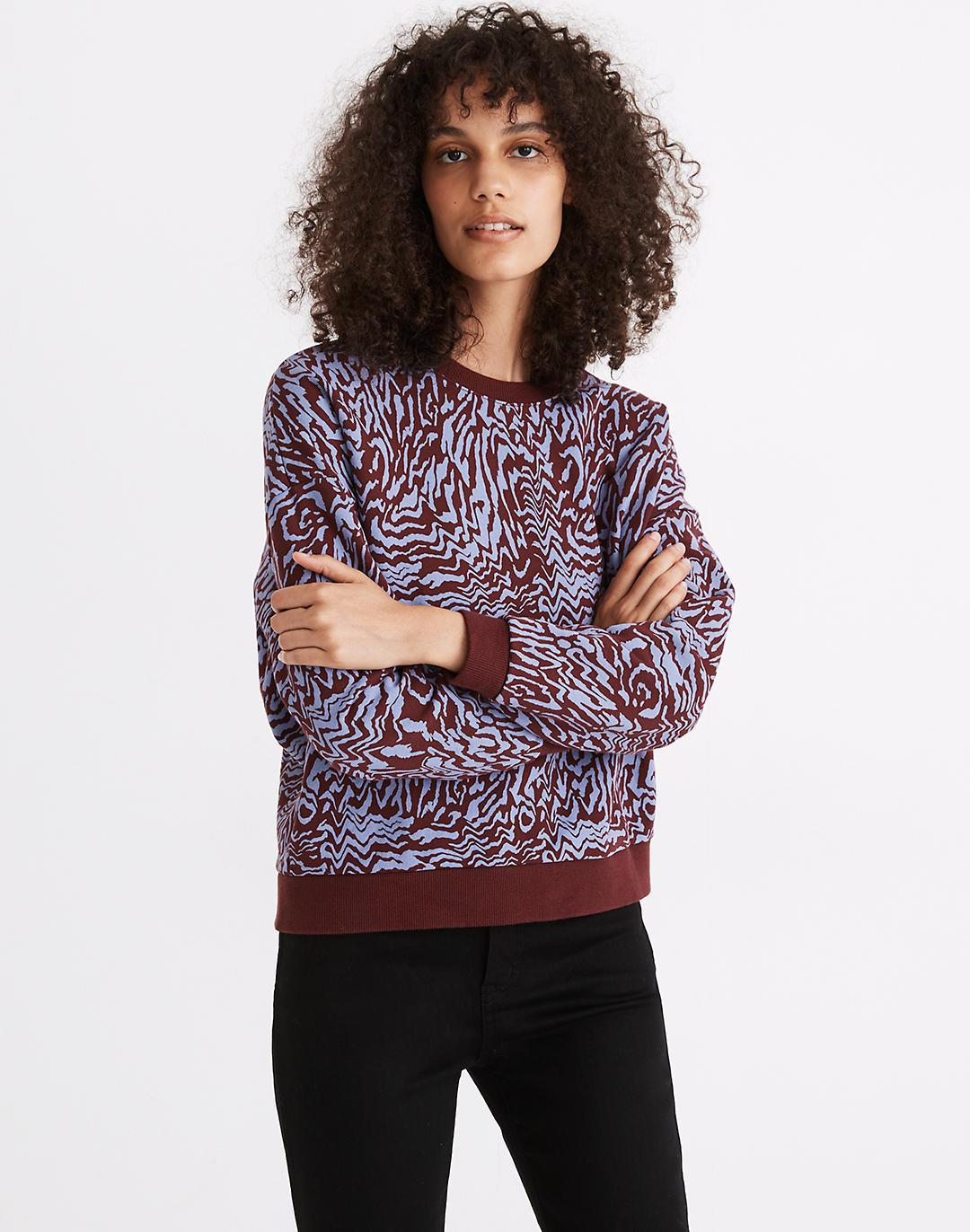 (Re)sourced Cotton Oversized Sweatshirt in Tigerized Print