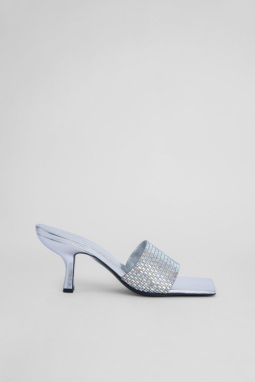 Dylan Silver Leather and Crystals