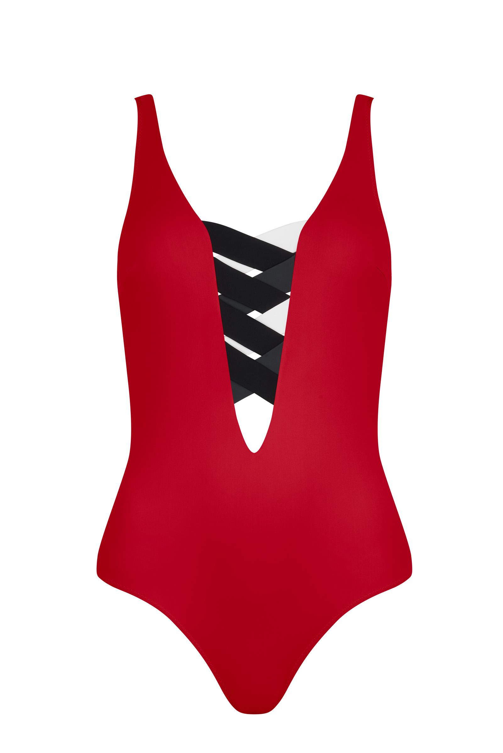 St Martin Bandage colour block one piece Red 1