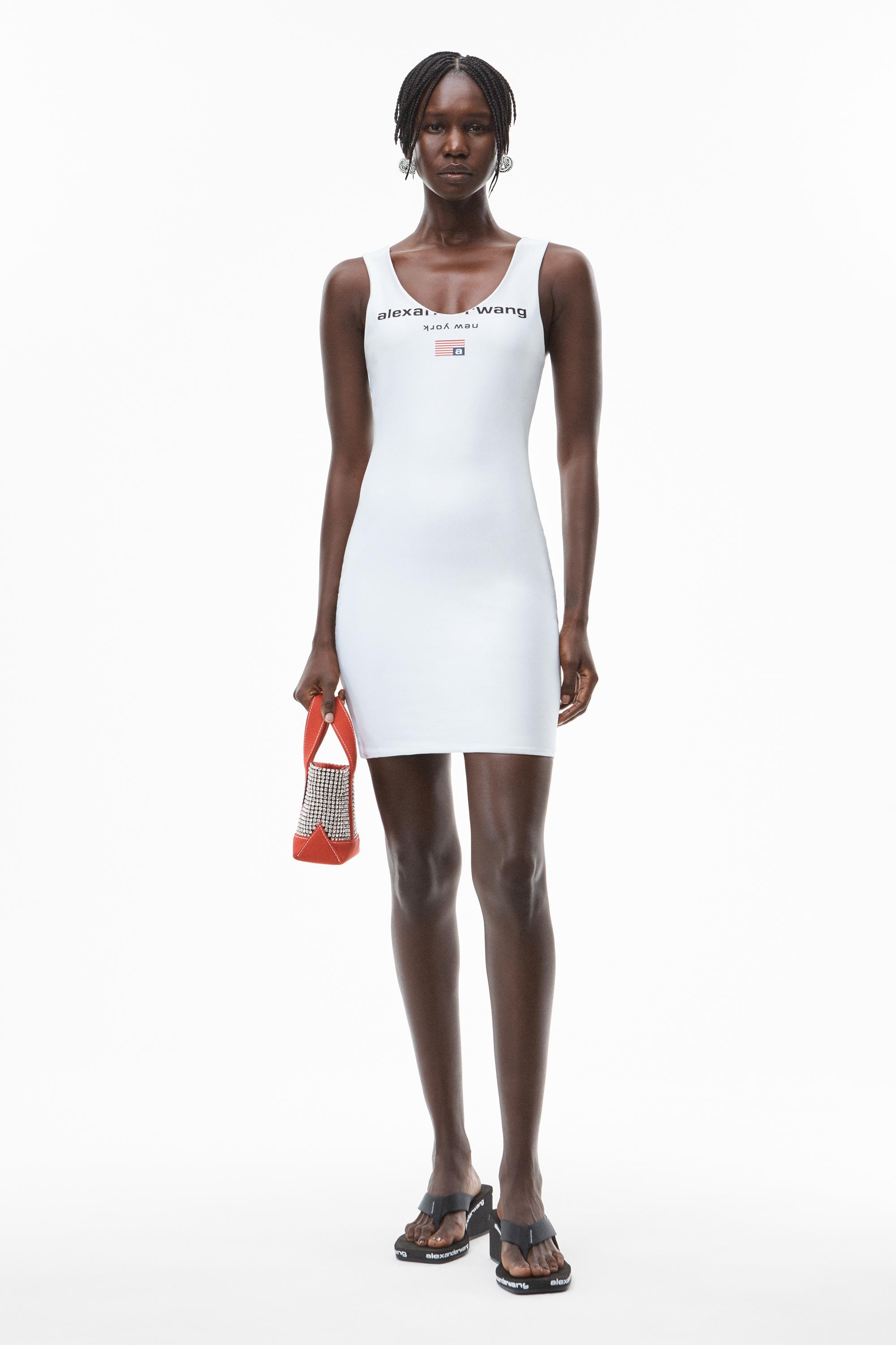 fitted logo tank dress in active stretch