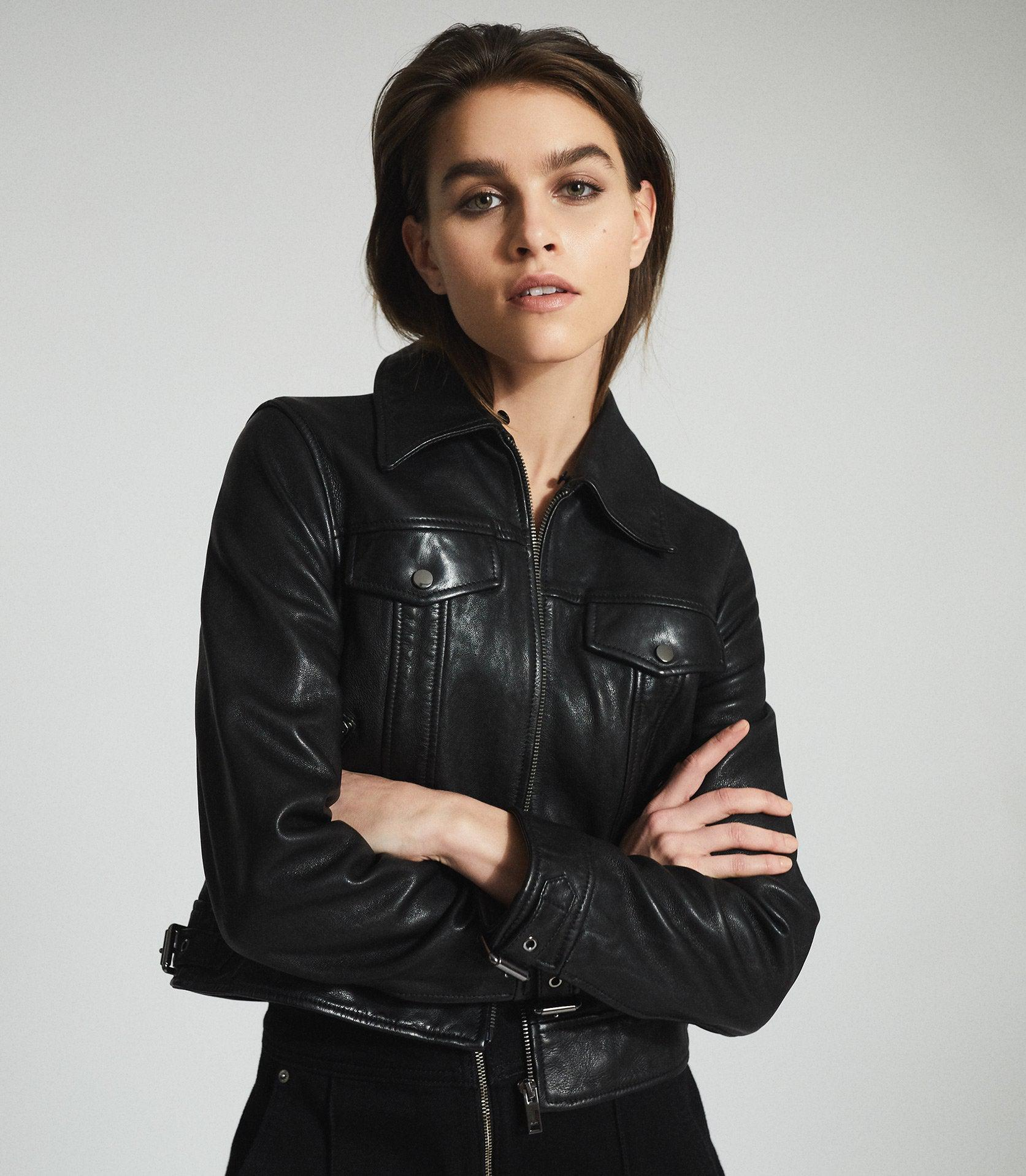SHELLIE - LEATHER JACKET WITH SHEARING COLLAR 4