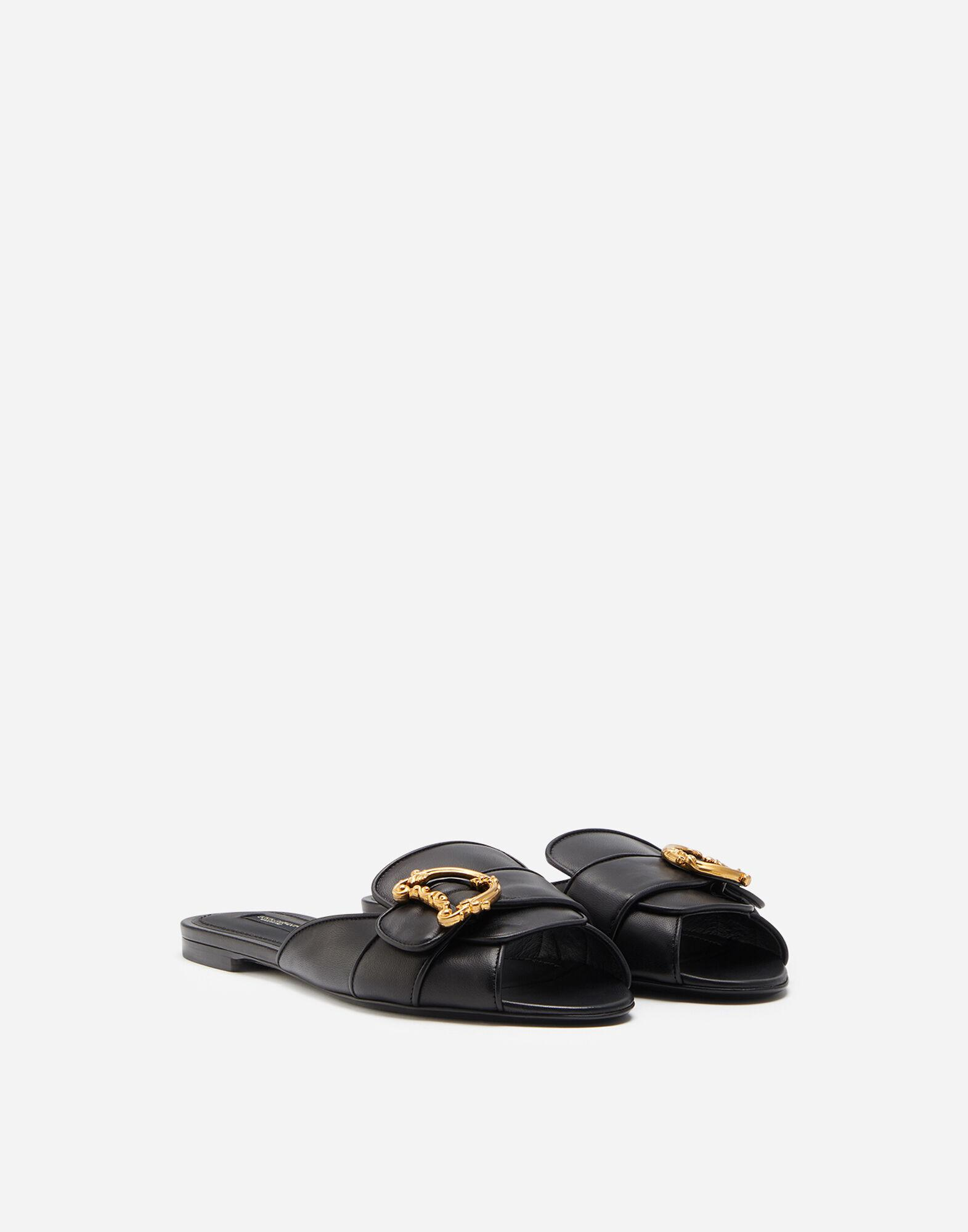 Nappa leather sliders with baroque D&G logo 1