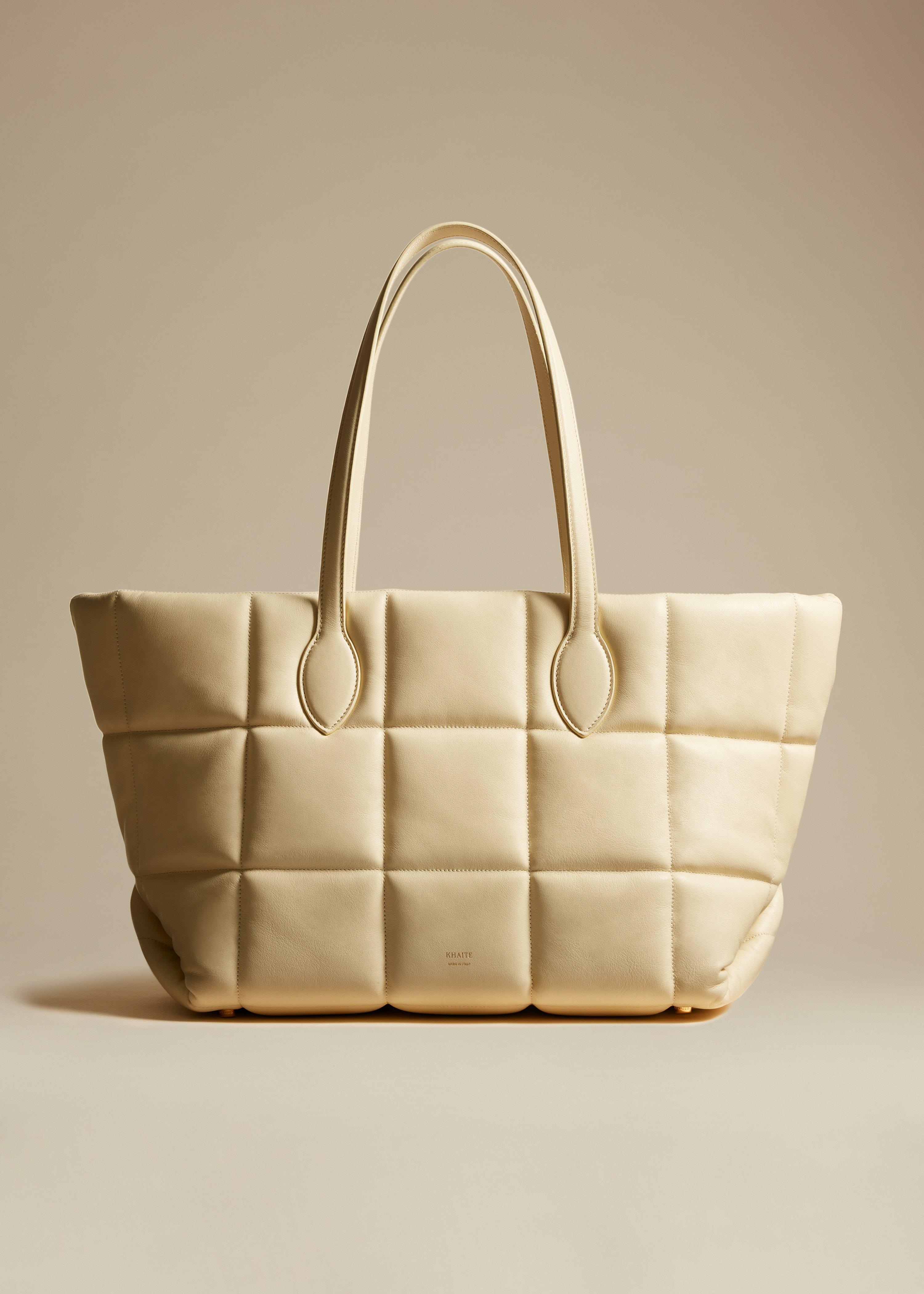 The Florence Quilted Tote in Cream Leather
