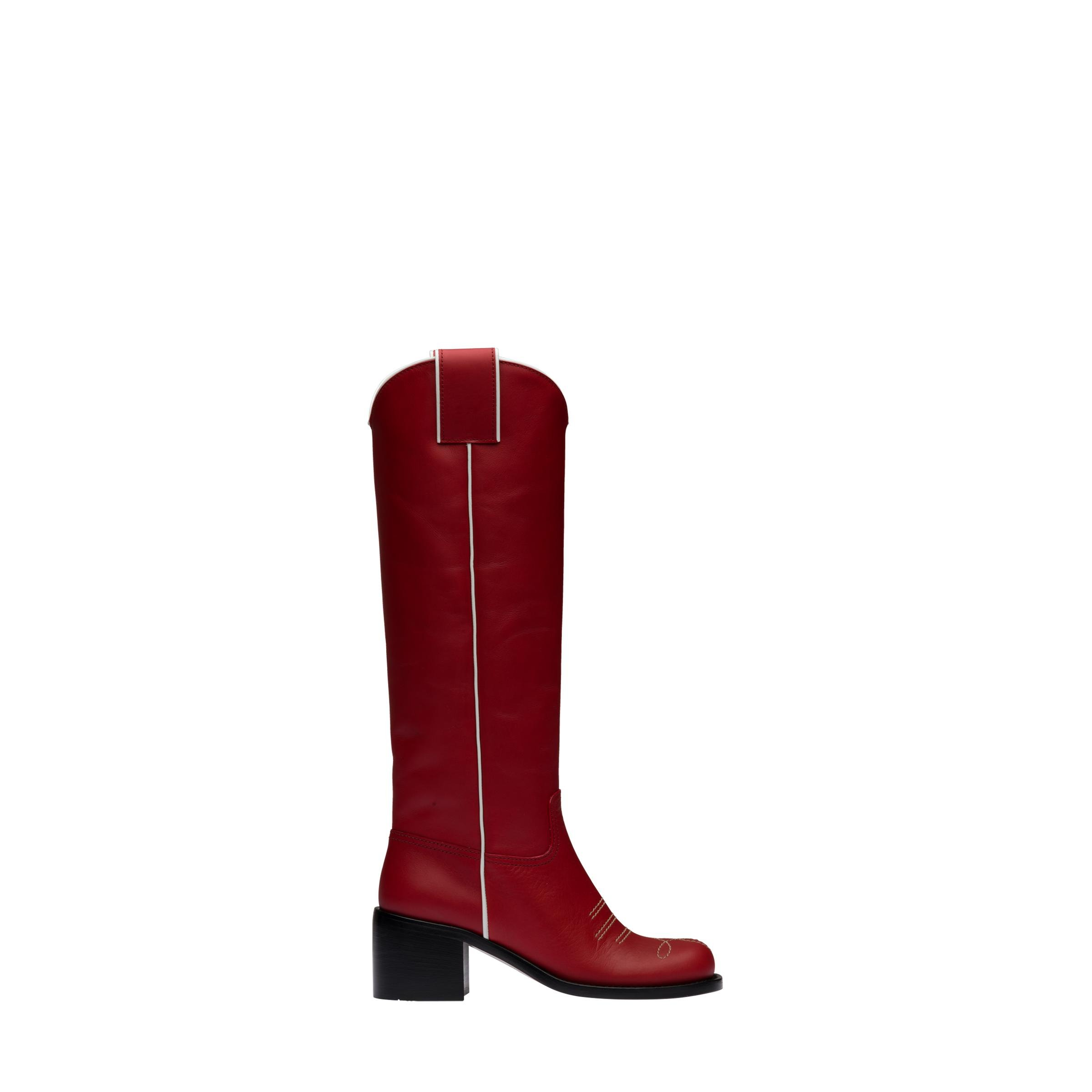 Leather Boots Women Ruby Red/white 1