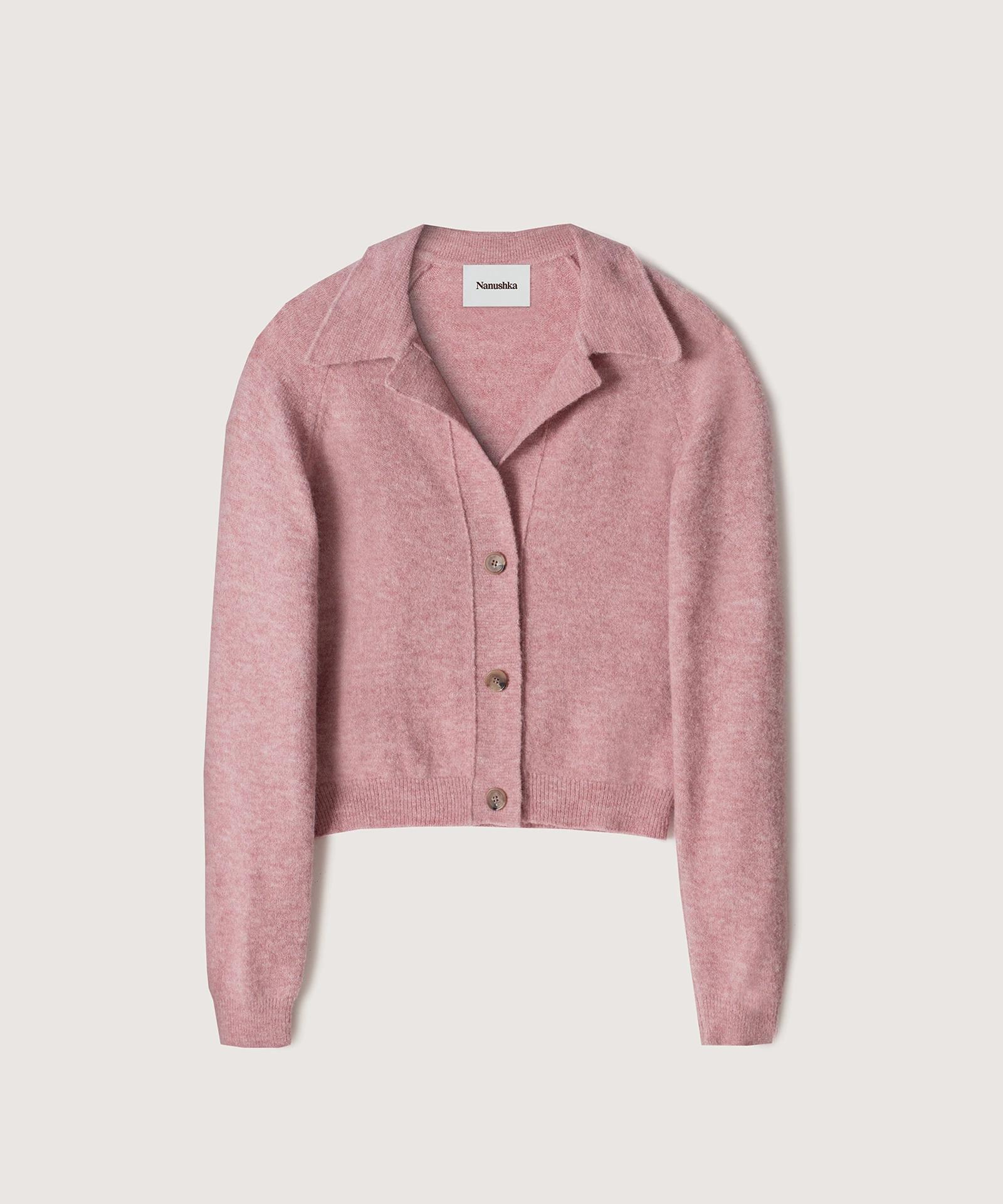 CADE - Fluffy-knit cardigan - Washed pink 3