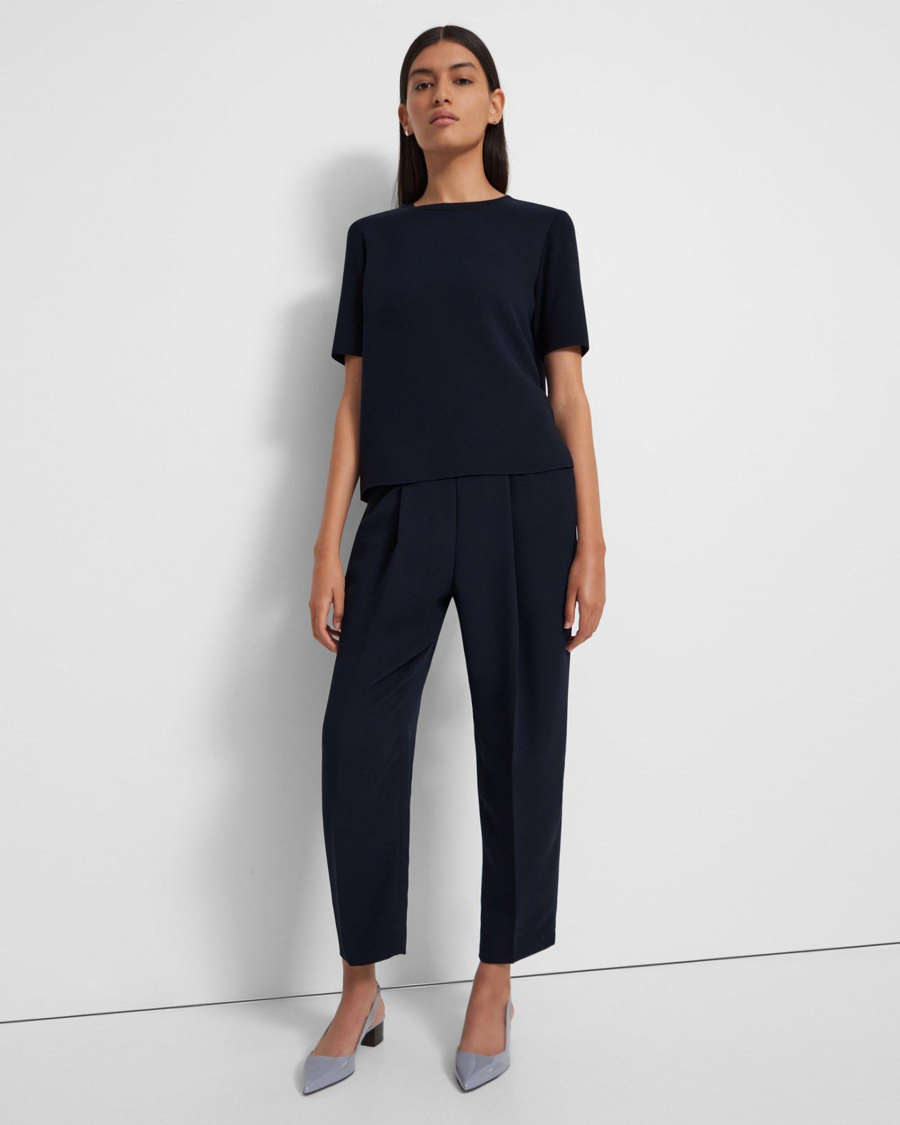 Short-Sleeve Top in Ribbed Crepe 1