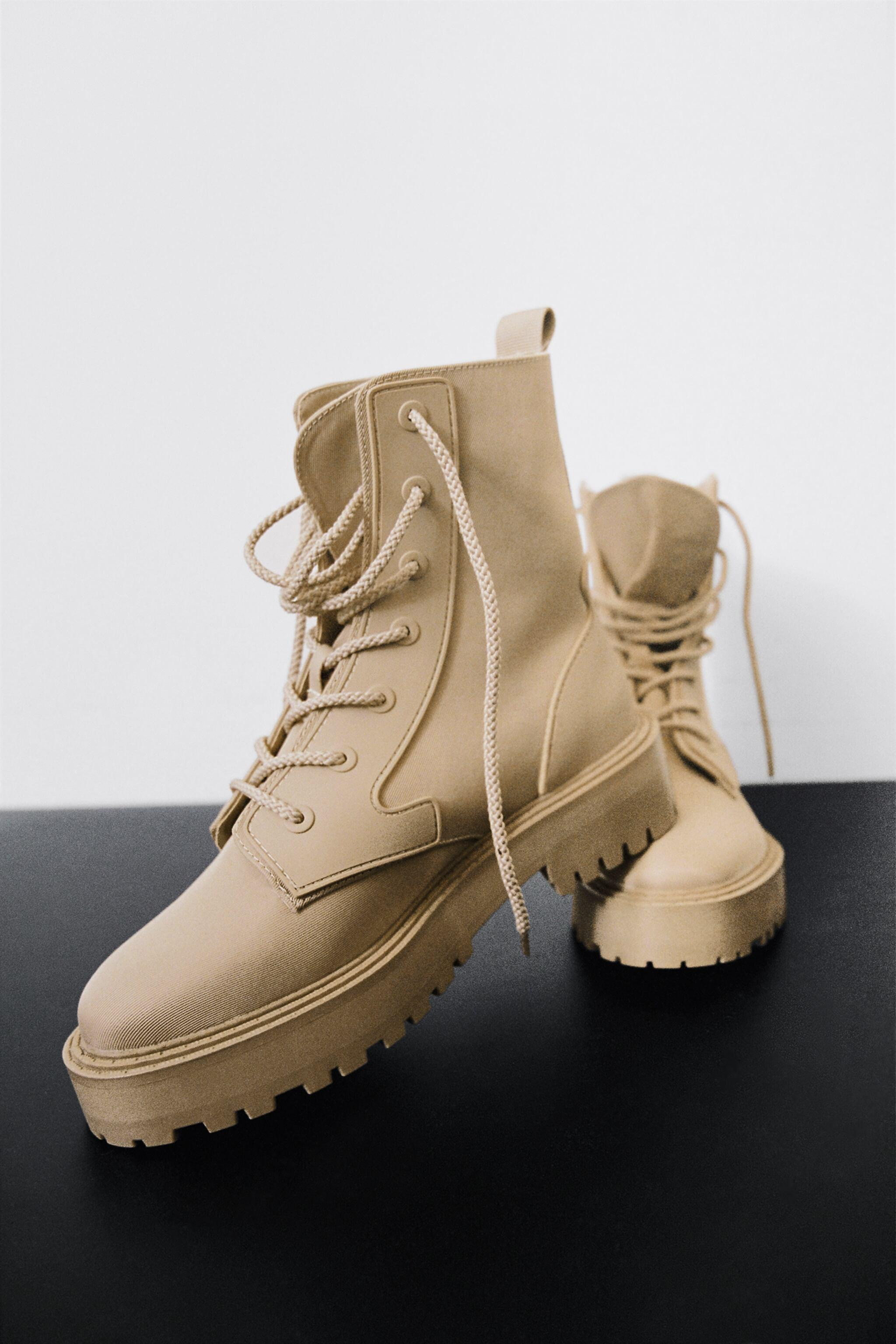 FAUX SHEARLING LINED ANKLE BOOTS
