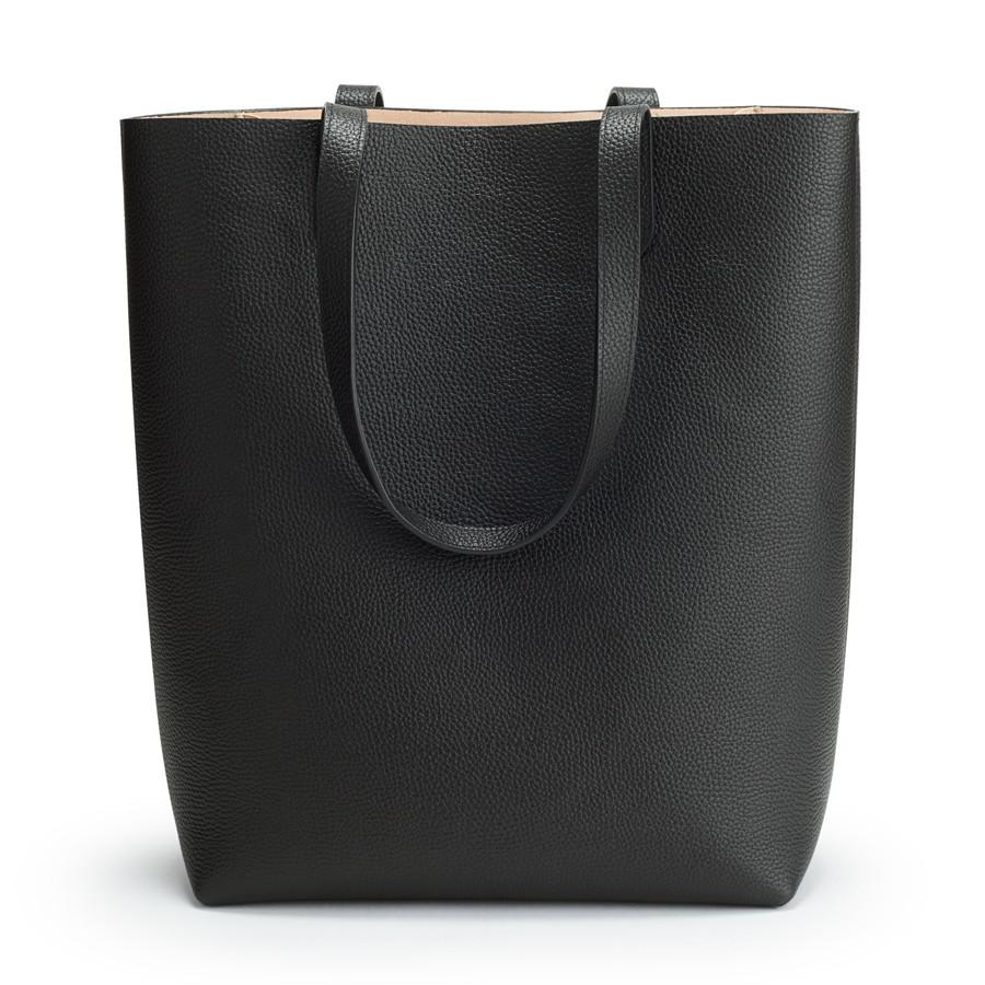 Women's Tall Structured Leather Tote Bag in Black/Blush Pink | Pebbled Leather by Cuyana