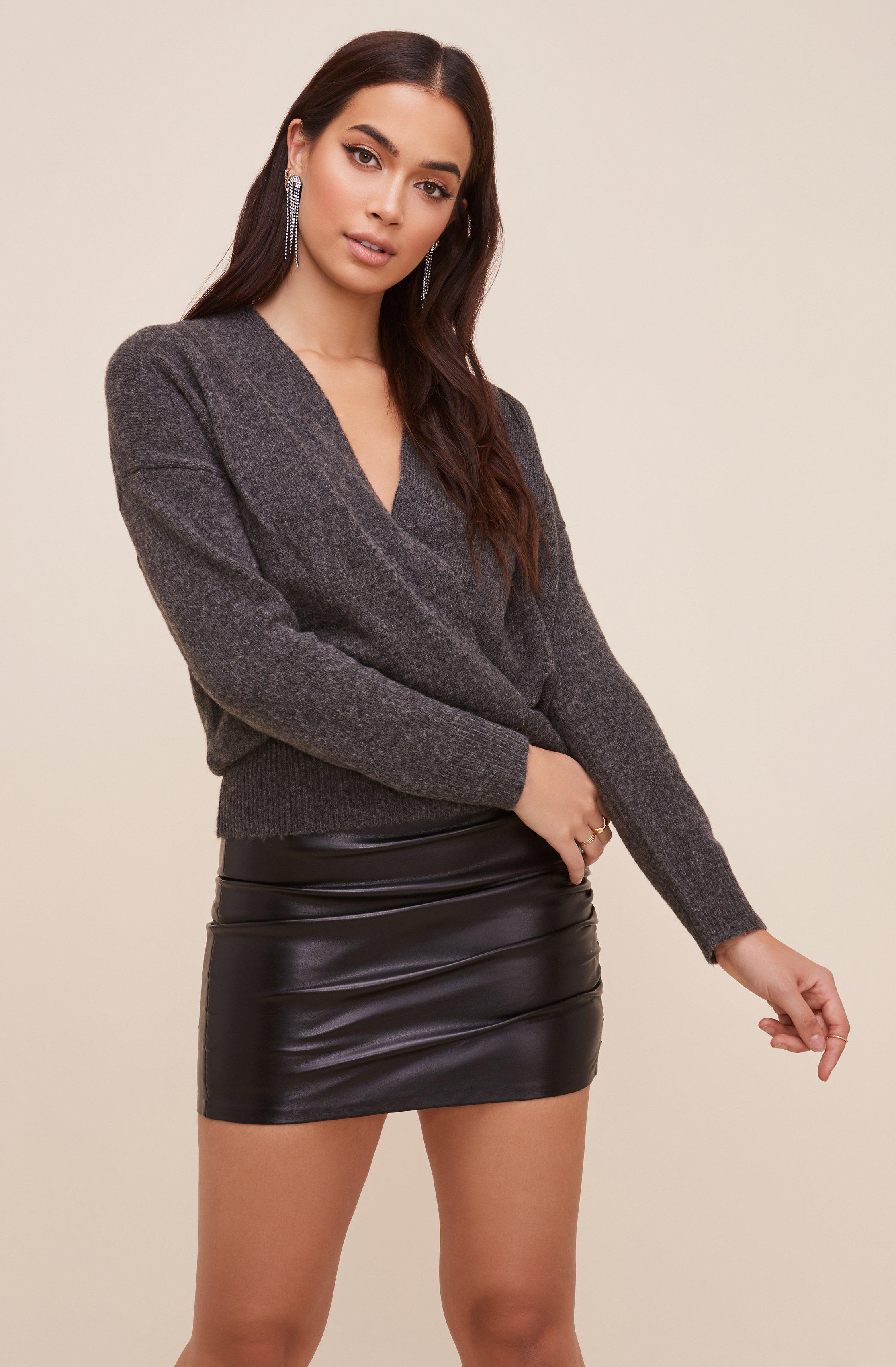 Pleated Wrap Sweater