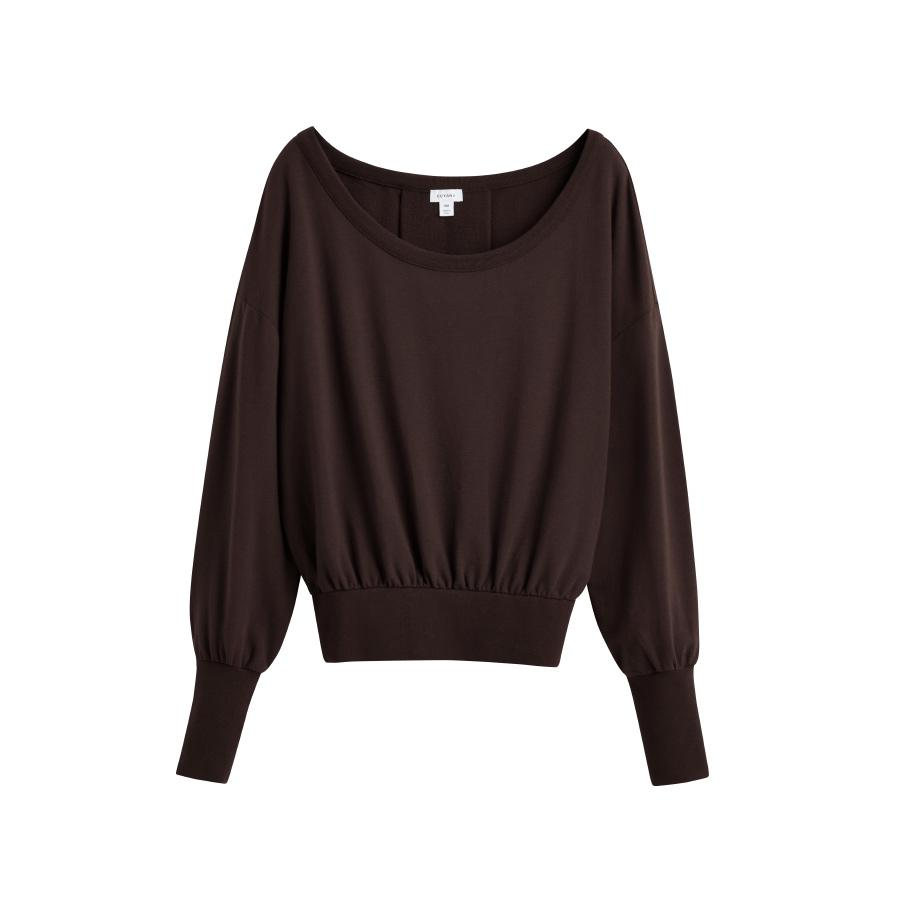 Women's French Terry Boatneck Sweatshirt in Chocolate | Size: